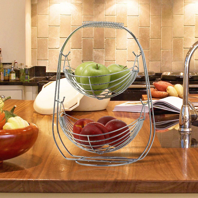 Chrome 2 3 Tier Wire Fruit Vegetable Basket Hammock Bowl Kitchen Storage Stand Ebay