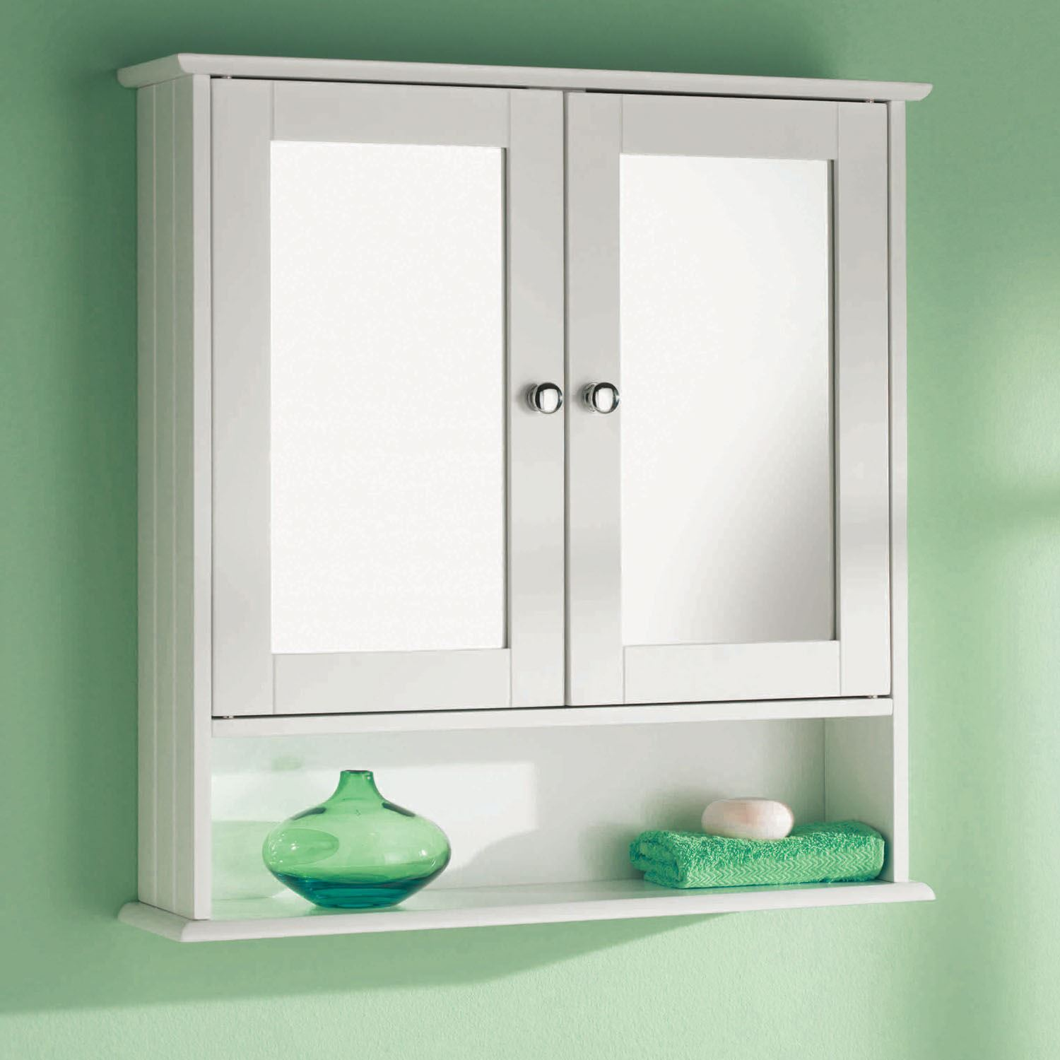Wall Mounted Double Mirror Door Bathroom Cabinet White Wooden ...