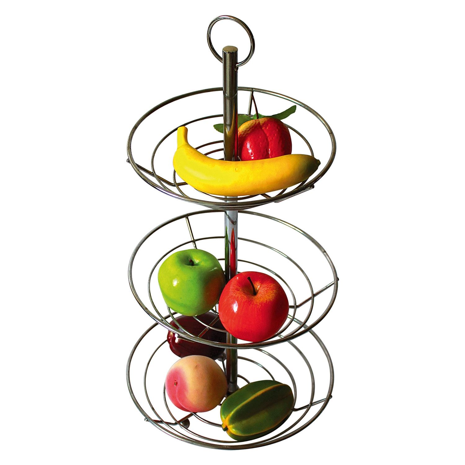 New 2 3 Tier Chrome Fruit Vegetable Basket