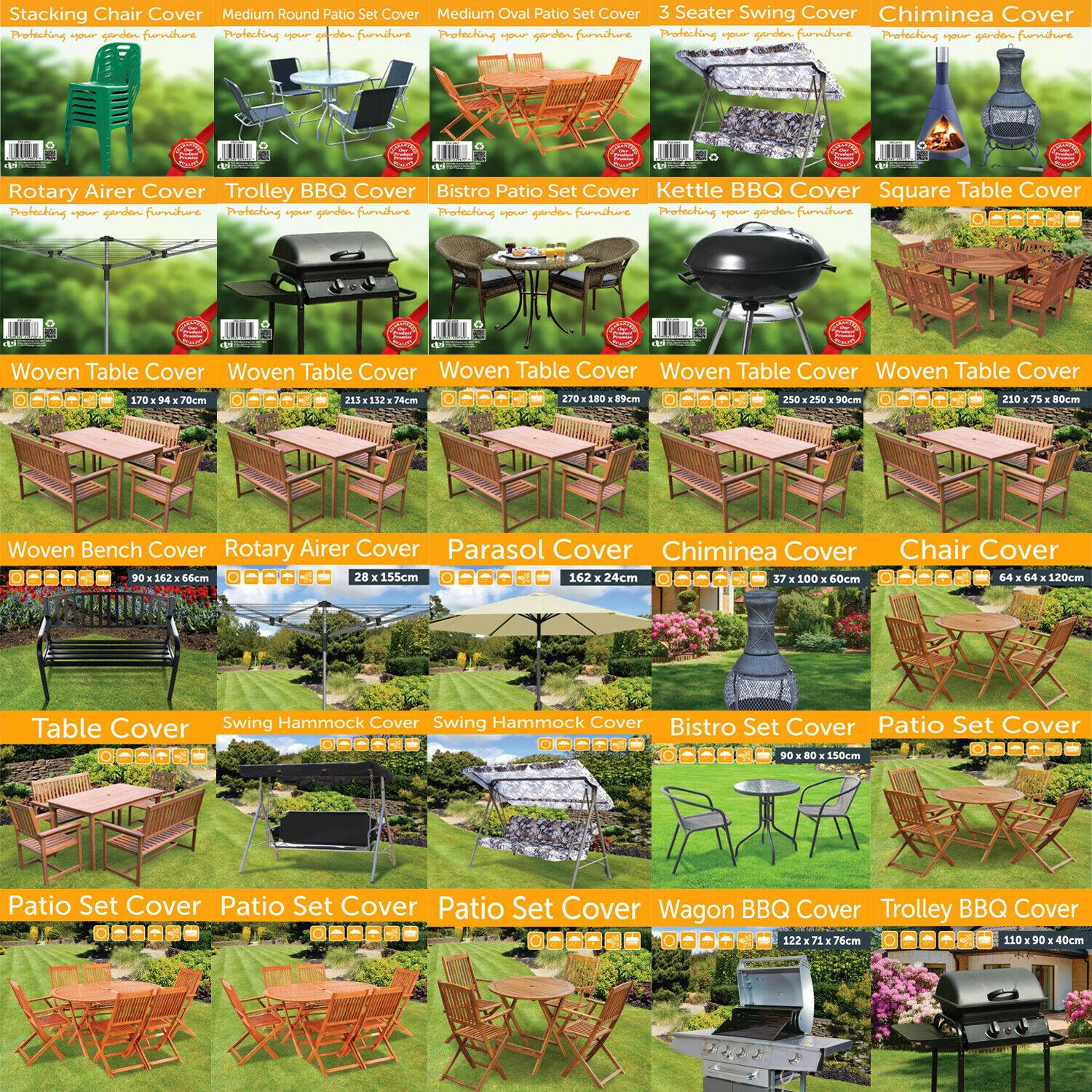 Details about OUTDOOR GARDEN FURNITURE COVERS BBQ TABLE CHAIRS BENCH  HAMMOCK PARASOL COVERS