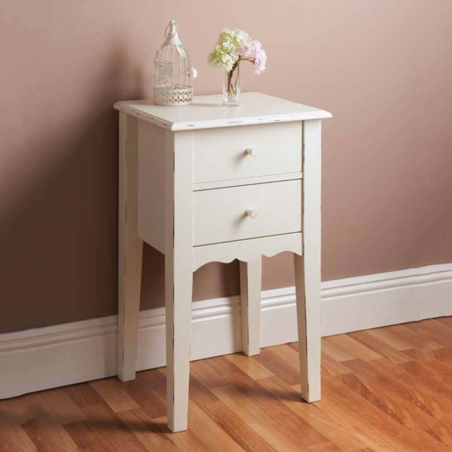 Details About Victoria White Shabby Chic Bedside Table Unit Stand Cabinets With 2 Drawers New