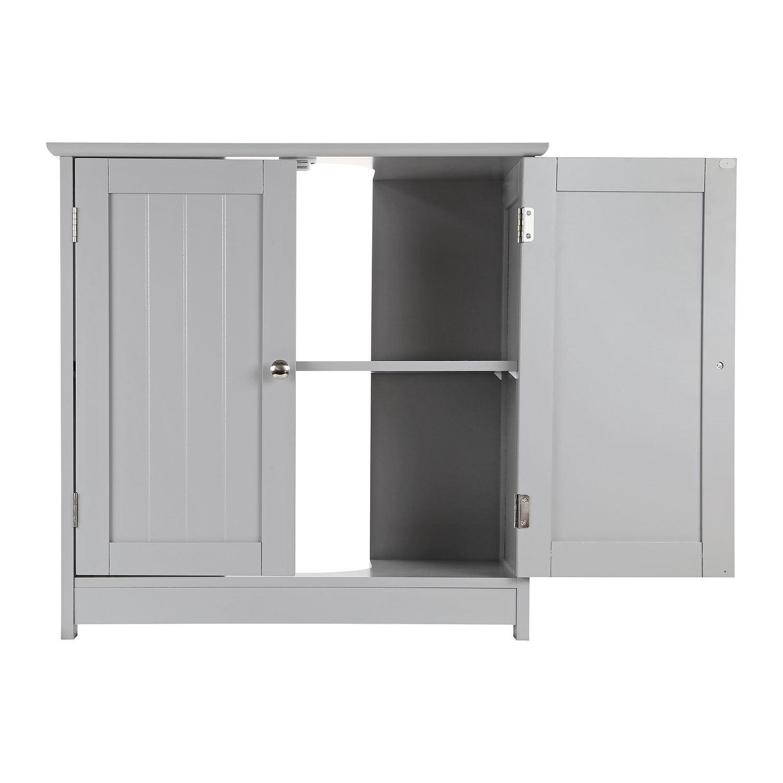 Grey-Wooden-Bathroom-Cabinet-Shelf-Cupboard-Bedroom-Storage-Unit-Free-Standing thumbnail 47