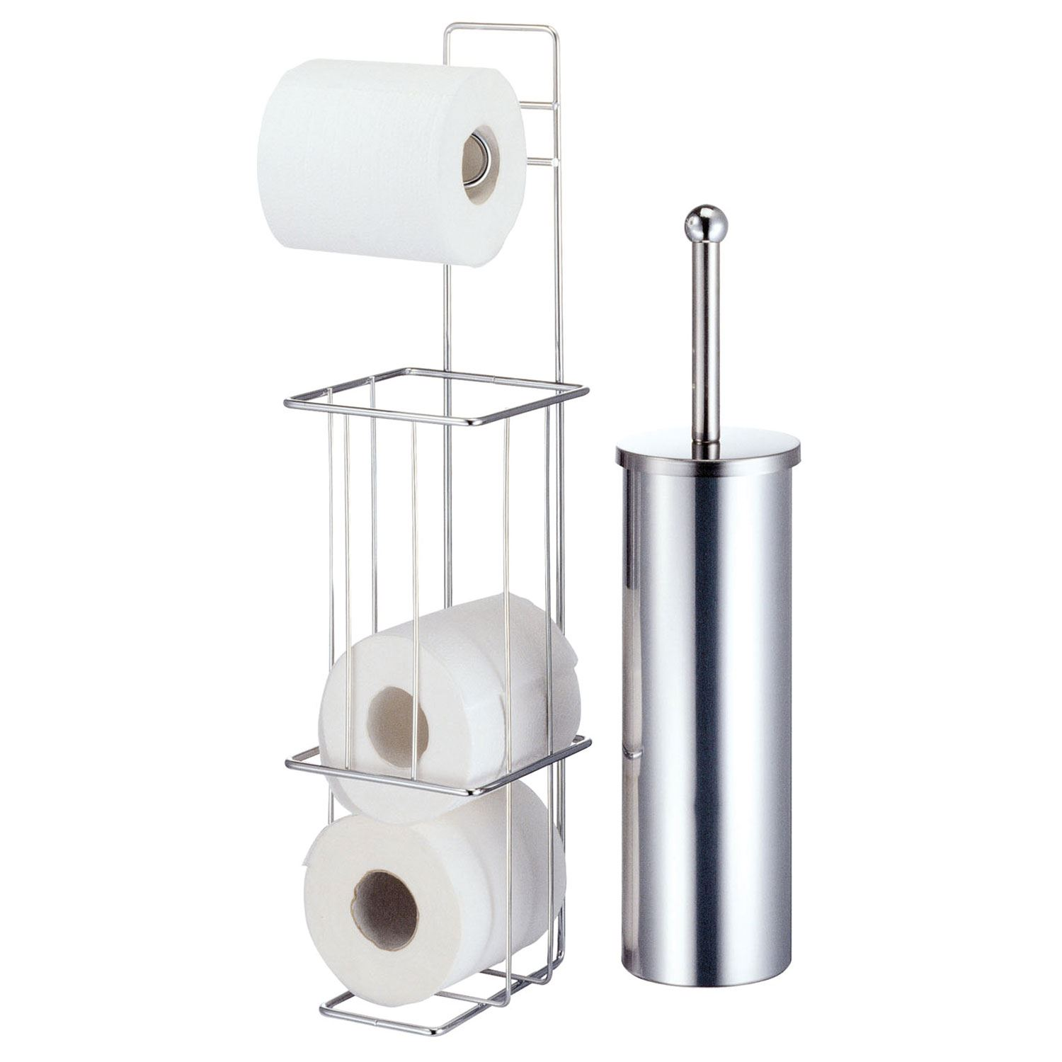 Free Standing Chrome Bathroom Toilet Paper Roll Stand & Toilet Brush ...