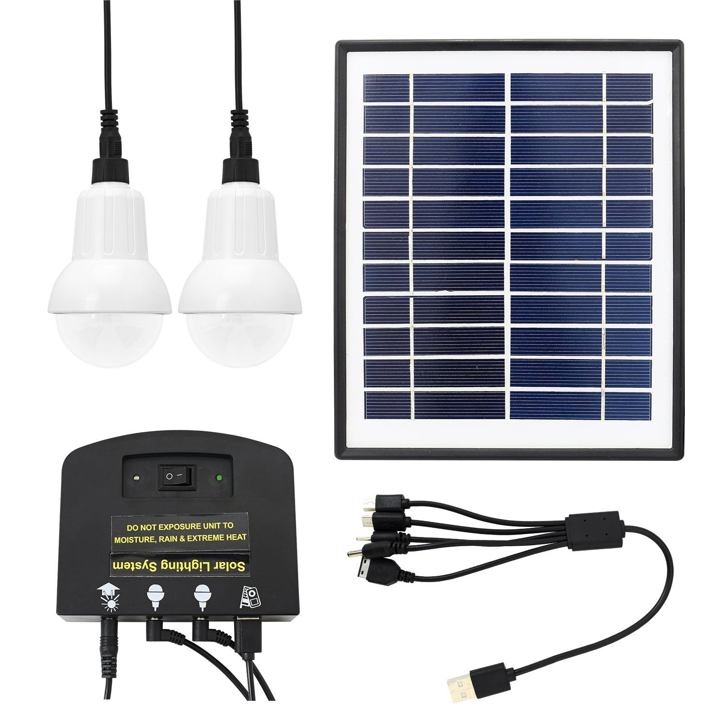 Outdoor 4W Solar Power LED Lighting System Kit USB Charger