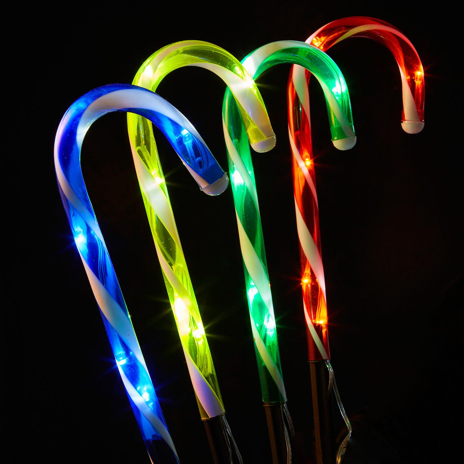 4/8 Pack Christmas Candy Cane Pathway Lights LED Outdoor ...