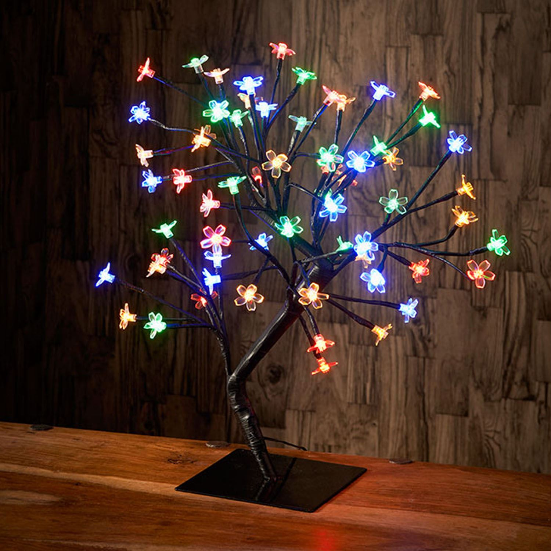 Multi Coloured Modern 72 Led Cherry Blossom Bonsai Tree Table Lamp
