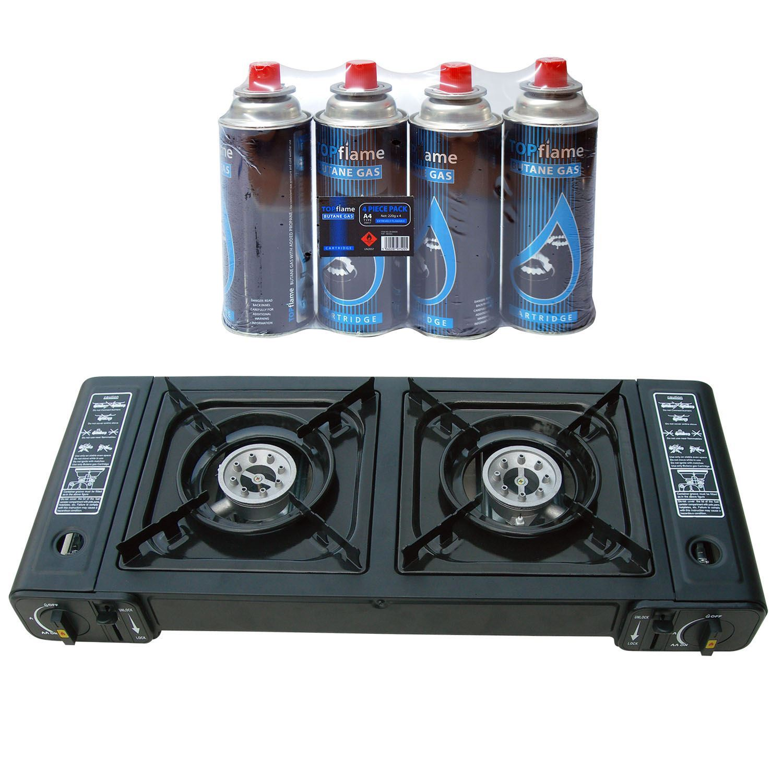 portable butane double twin dual burner camping bbq gas stove cooker 4 refills ebay