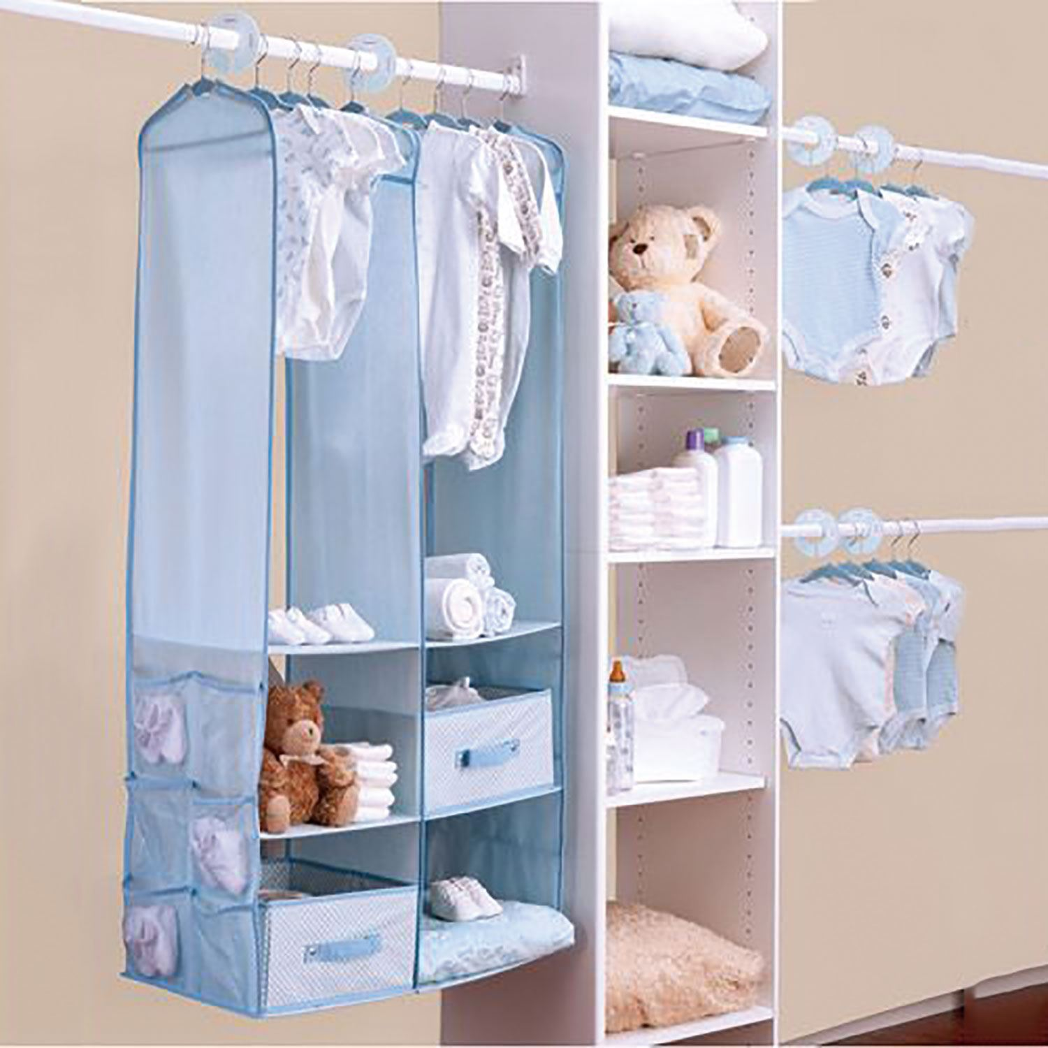 shoe hanging organiser section aebe shelves clothes wardrobe itm storage garment tidy