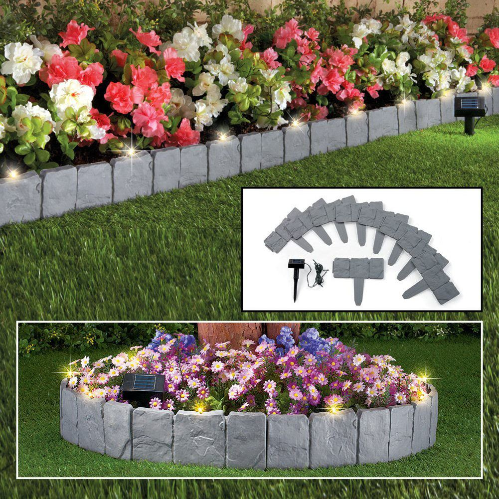 Plastic Cobbled Stone Effect Garden Edging Lawn Plant