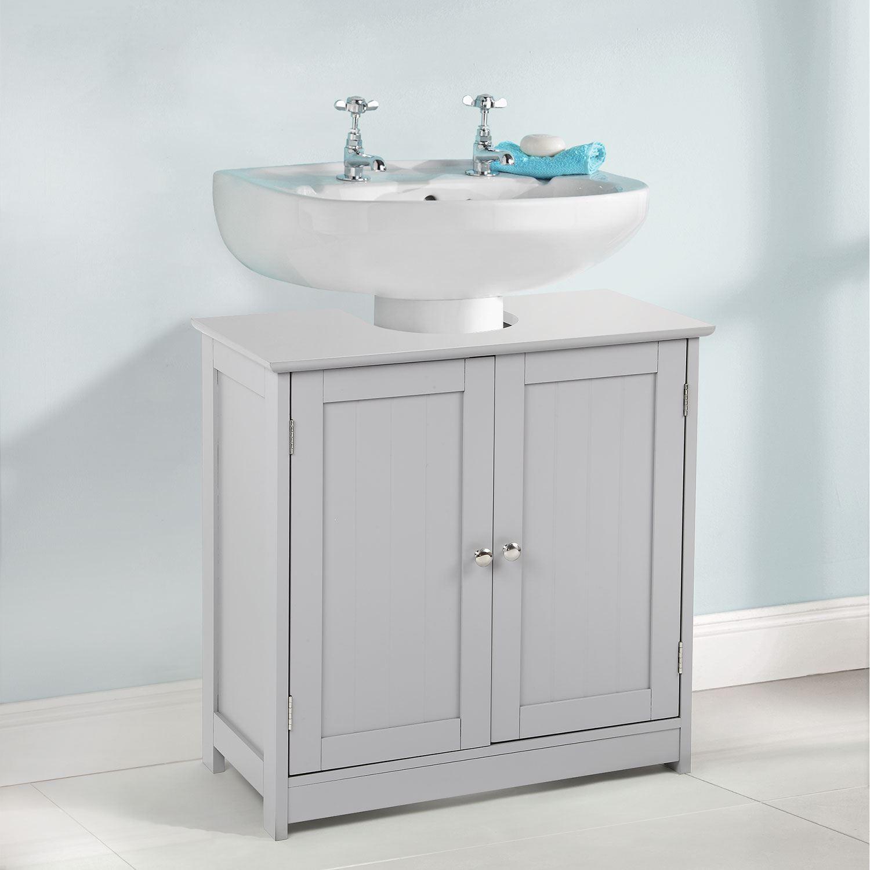 Grey Under Sink Basin Cabinet Cupboard Bathroom Furniture
