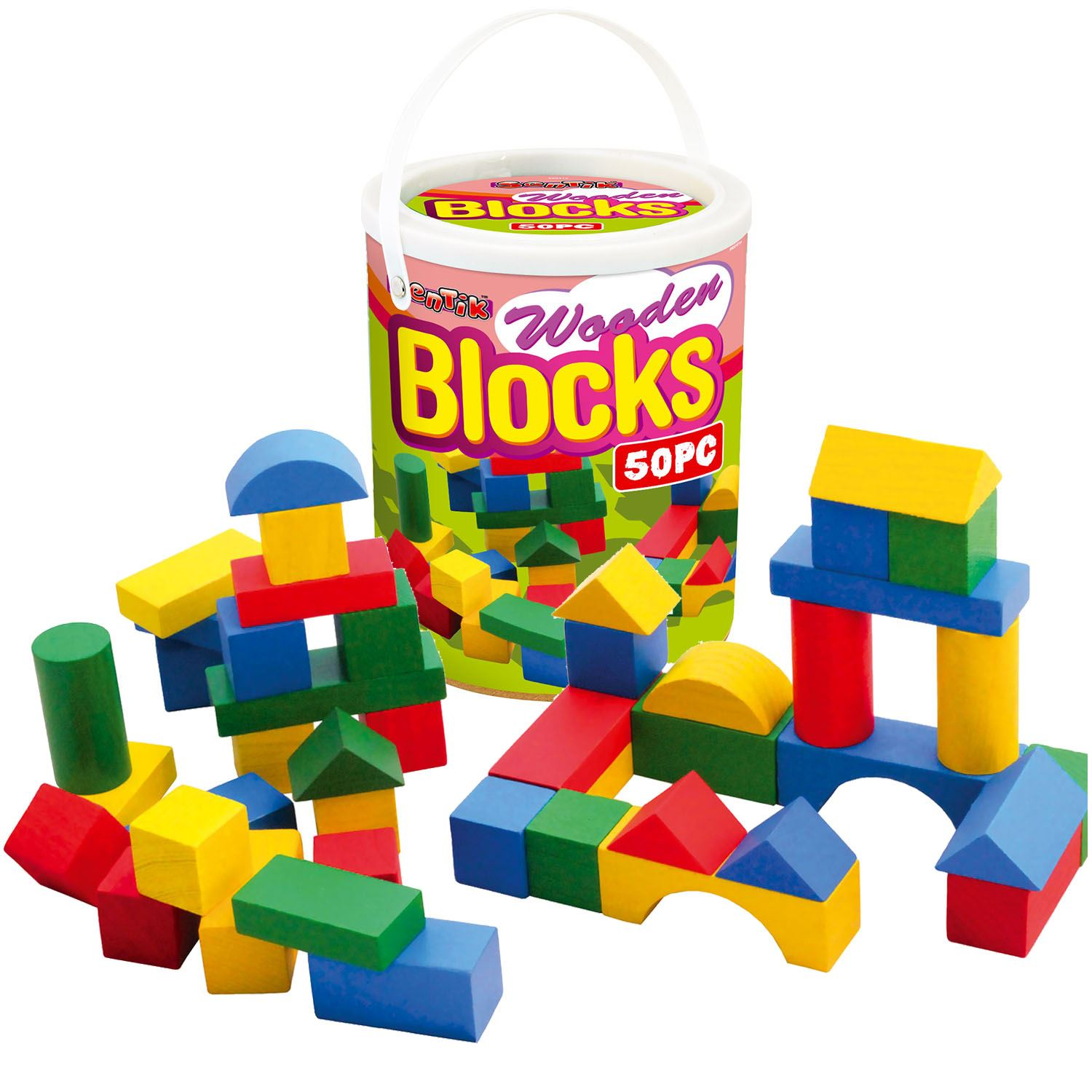 Childrens Wooden Building Blocks Kids Construction Toy Bricks Set