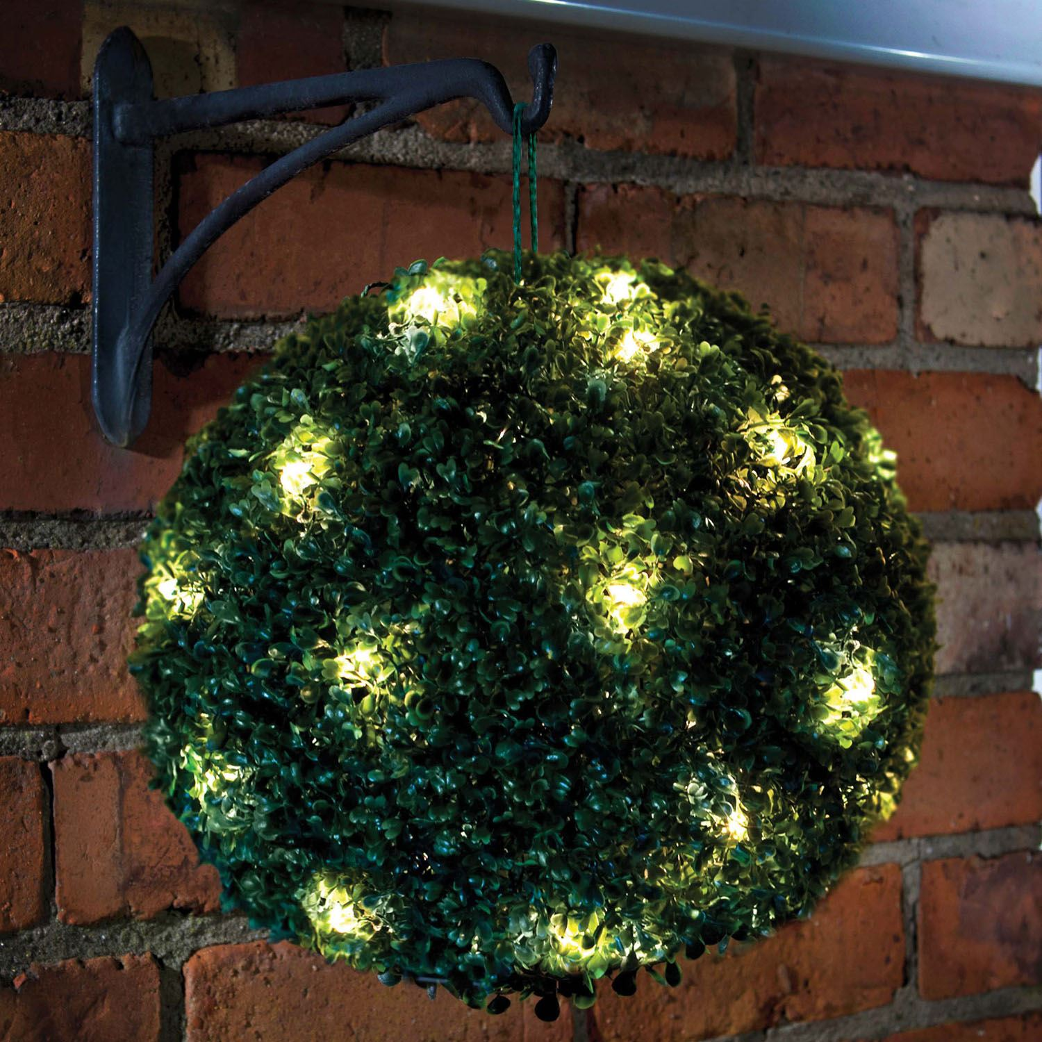 28cm Solar Powered LED Rose Topiary Ball Hanging