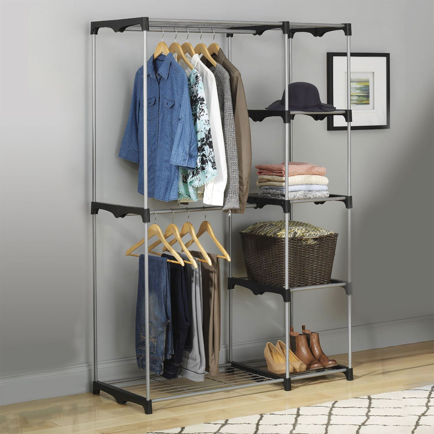 Closet Clothes Rack: Double Rod Freestanding Portable Clothes Wardrobe Closet