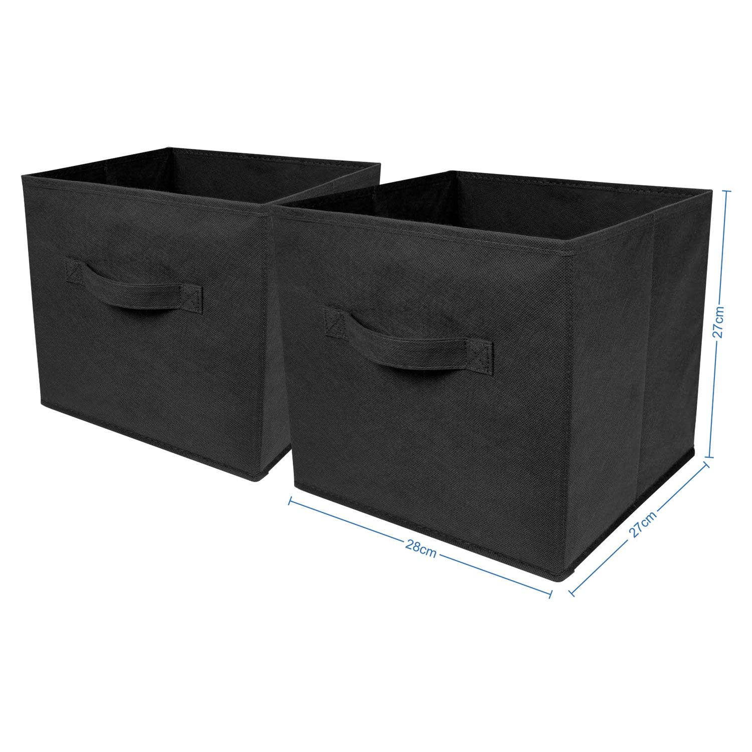 Canvas Storage Boxes For Wardrobes: Pack Of 2 Square Canvas Storage Cube Collapsible Fabric