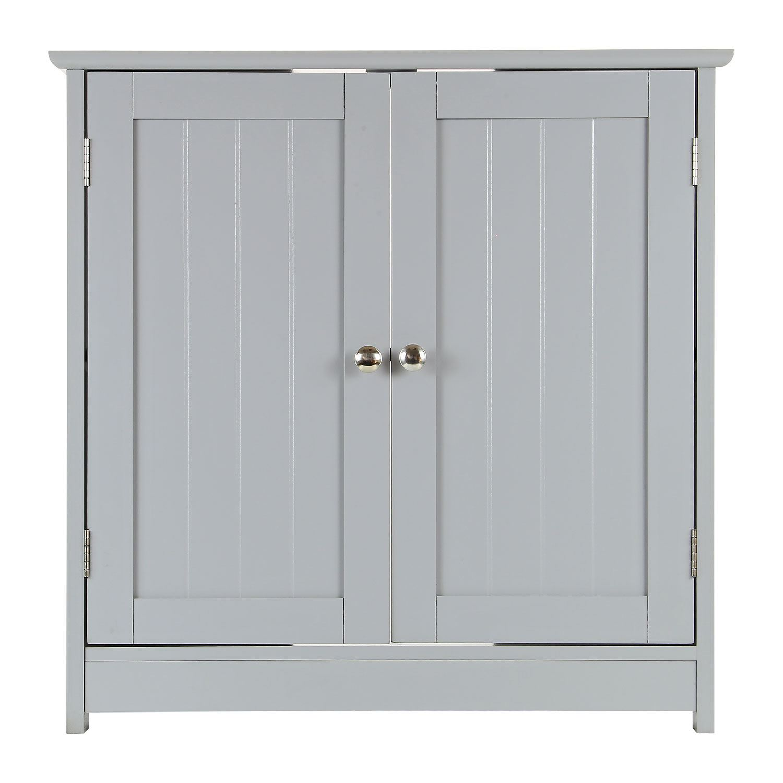 Grey-Wooden-Bathroom-Cabinet-Shelf-Cupboard-Bedroom-Storage-Unit-Free-Standing thumbnail 45