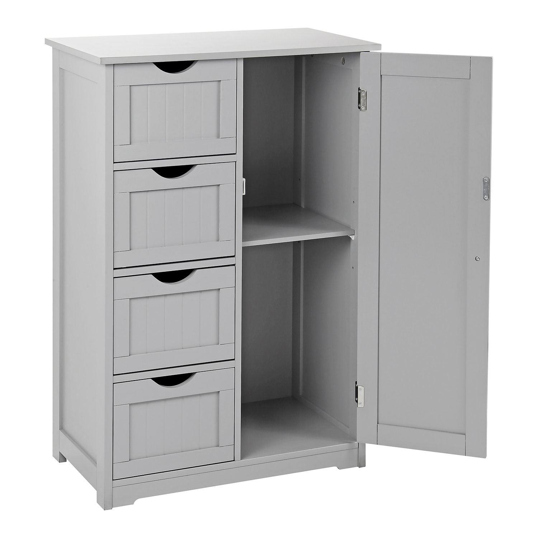 Grey-Wooden-Bathroom-Cabinet-Shelf-Cupboard-Bedroom-Storage-Unit-Free-Standing thumbnail 28