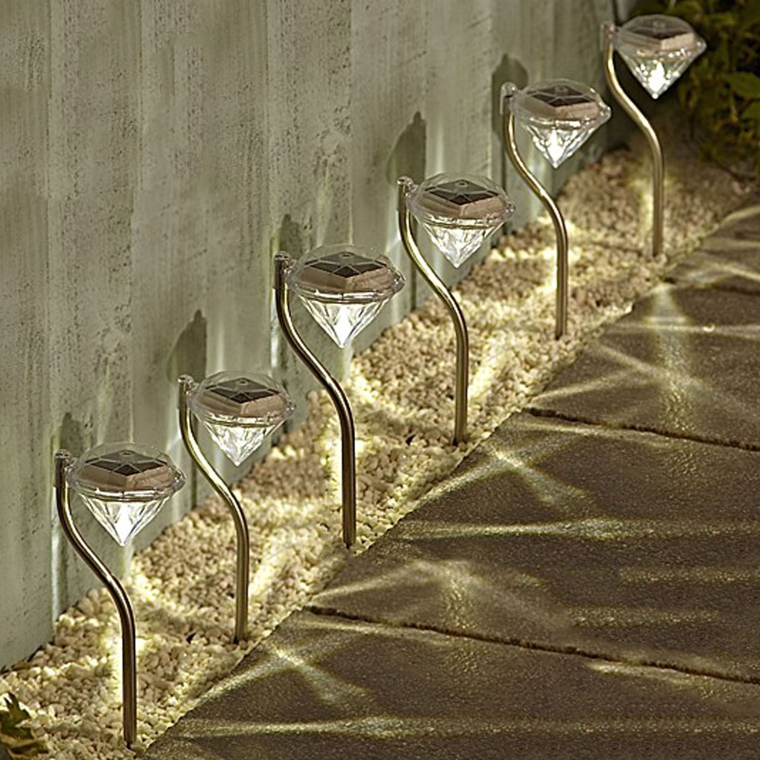 2 Colour Changing Led Stainless Steel Solar Stake Lights: Diamond LED Solar Powered Stainless Steel Stake Lights
