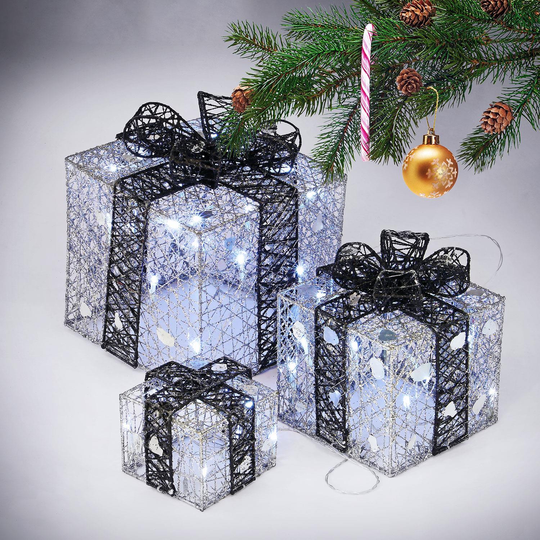 3 LED Light Up Luxury Sparkle Christmas Present Boxes Parcel Present Decoration