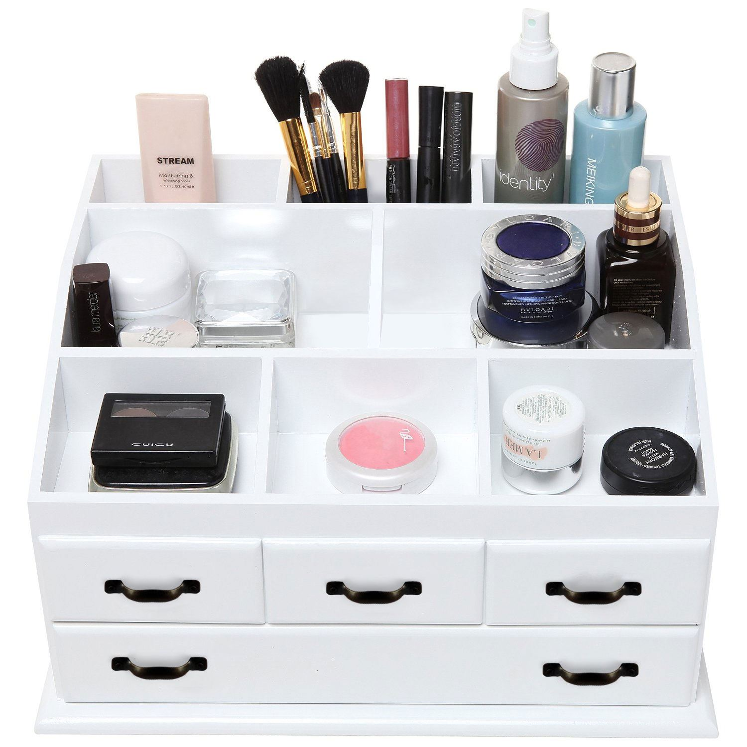 Wooden 4 drawer jewellery cosmetic makeup storage display for Beauty table organiser