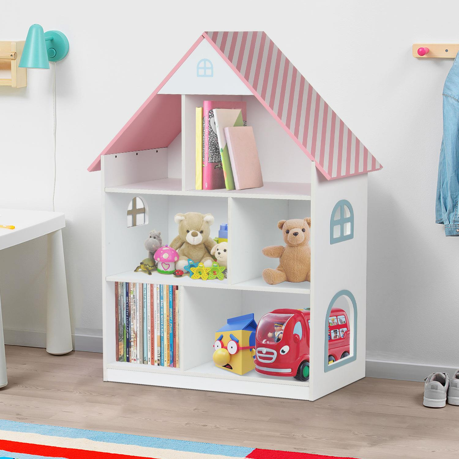 Details About Kids Childrens Wooden Doll House Bookcase Shelf Storage Rack Organiser Bookshelf