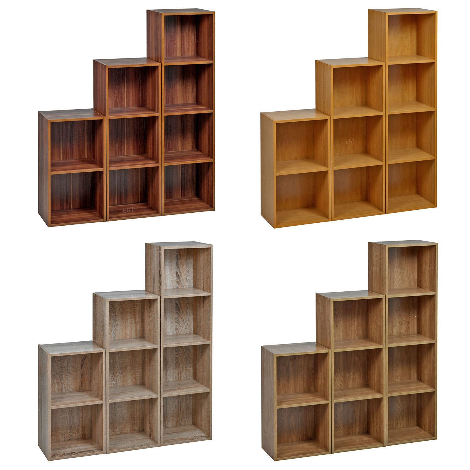 tier strong wooden bookcase shelving cube storage  - image is loading tierstrongwoodenbookcase
