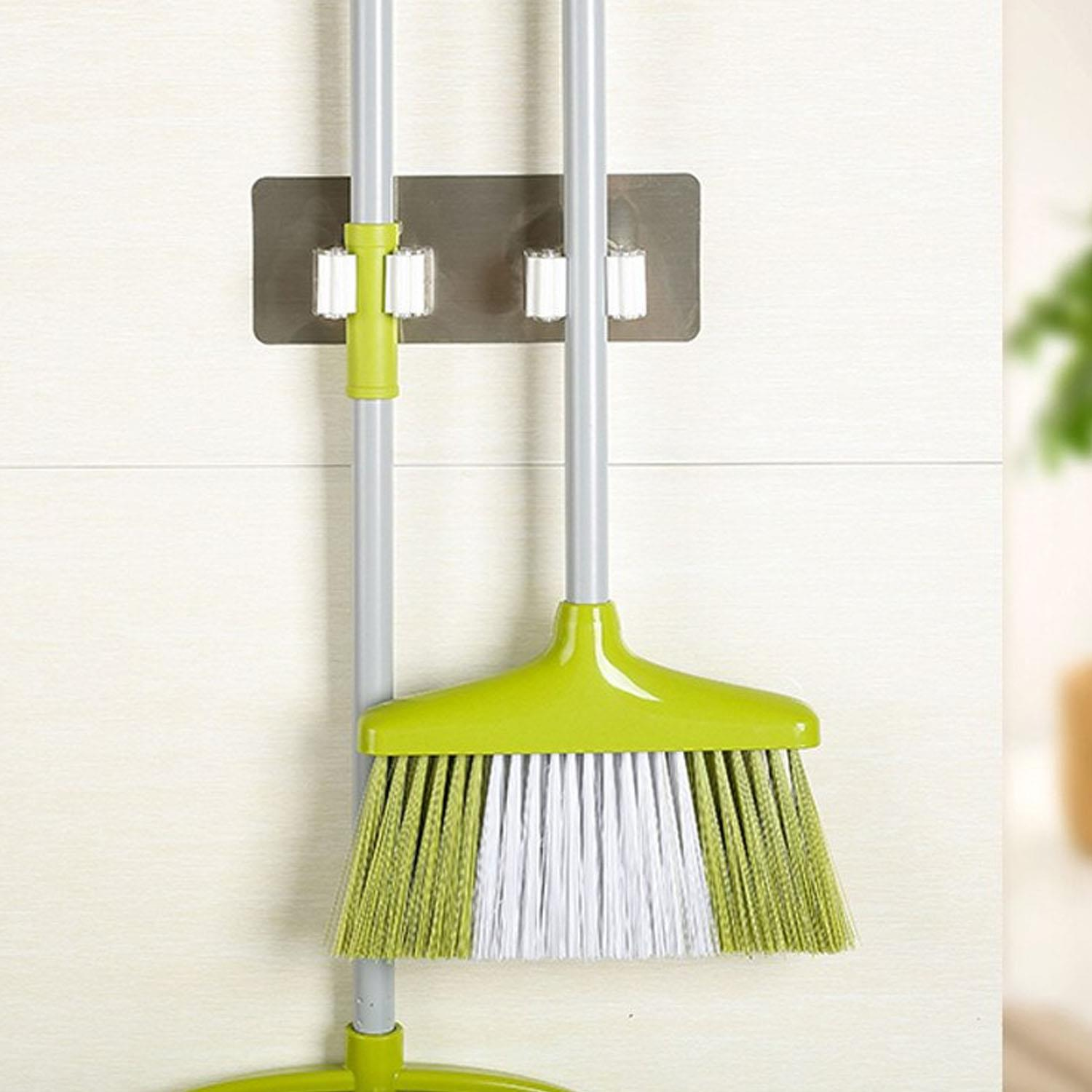 WALL MOUNTED 3//4//5 RACK KITCHEN STORAGE MOP ORGANIZER HOLDER BRUSH BROOM HANGER
