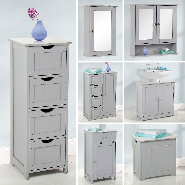 . Details about Grey Wooden Bathroom Cabinet Shelf Cupboard Bedroom Storage  Unit Free Standing