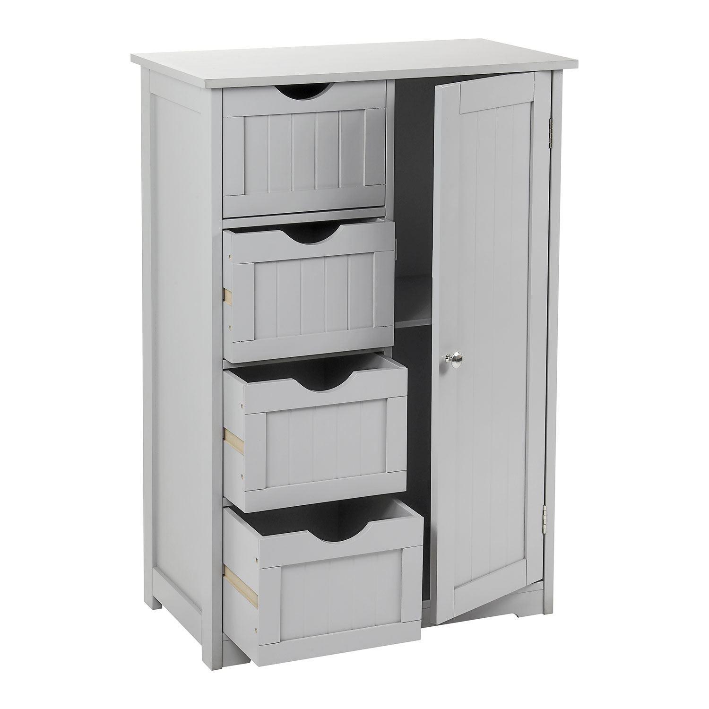 Grey-Wooden-Bathroom-Cabinet-Shelf-Cupboard-Bedroom-Storage-Unit-Free-Standing thumbnail 27