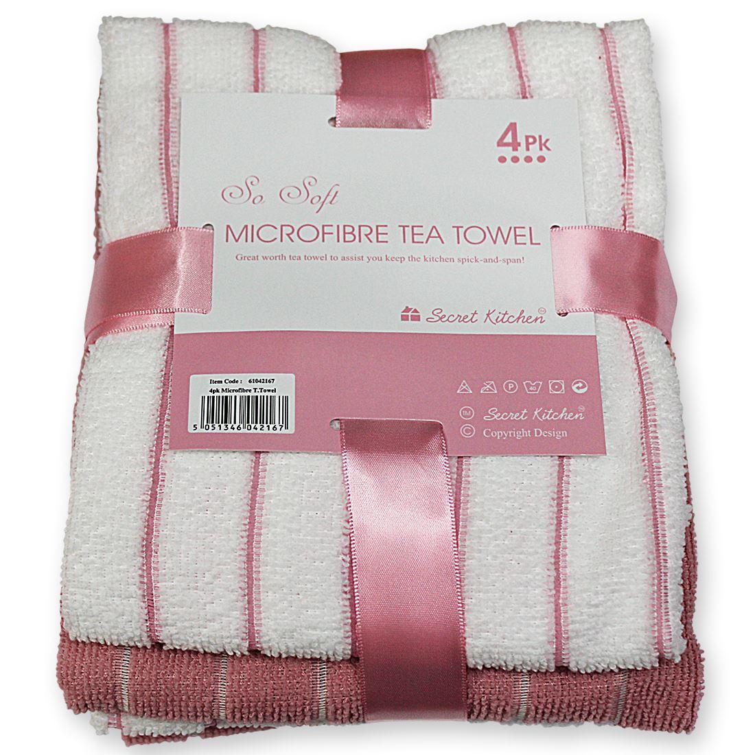 4 Pack Microfibre Kitchen Tea Towels So Soft Secret Kitchen Spick ...