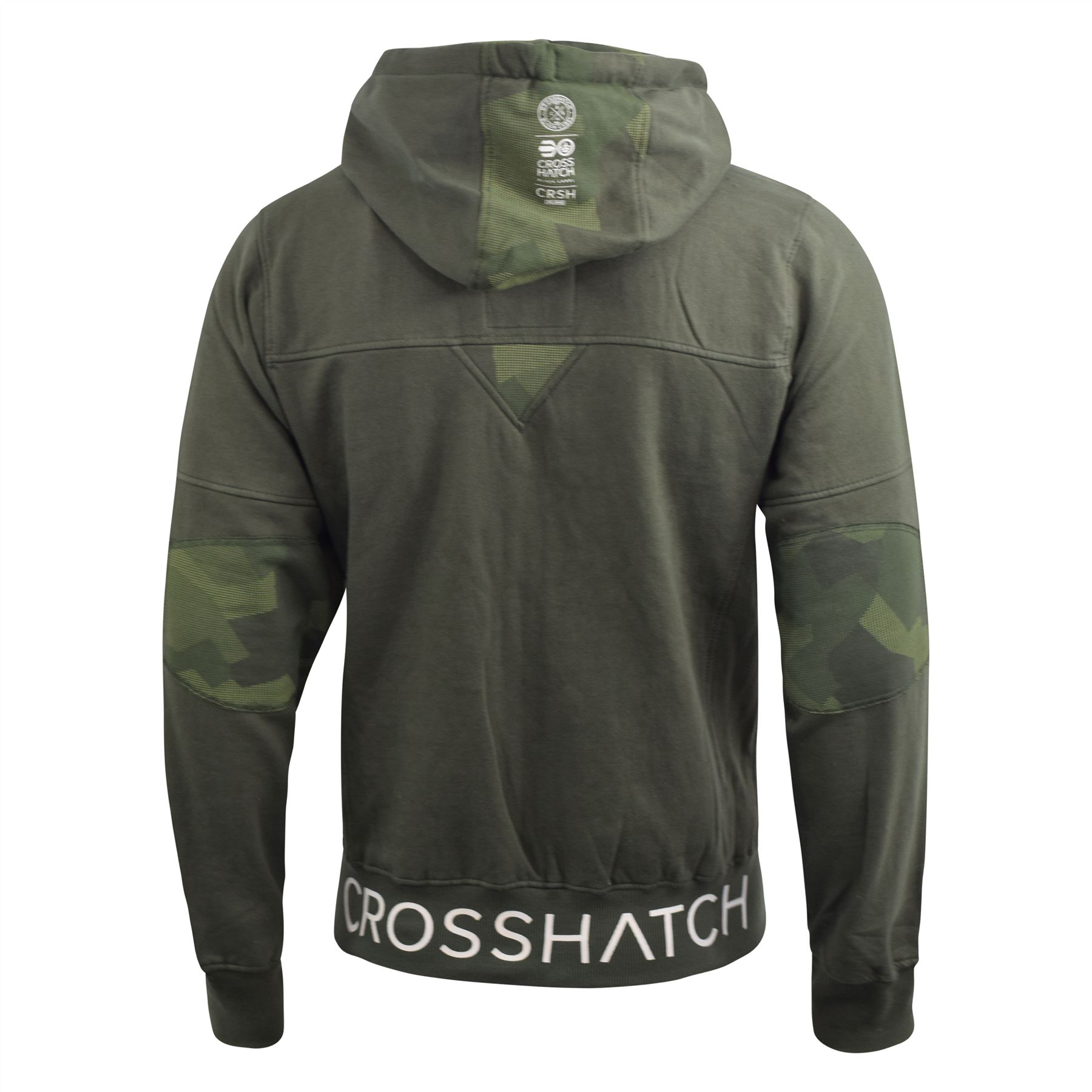 Mens-Hoodie-Crosshatch-Full-Zip-Sweatshirt-Hooded-Jumper-Top-Pullover-Radzim thumbnail 4