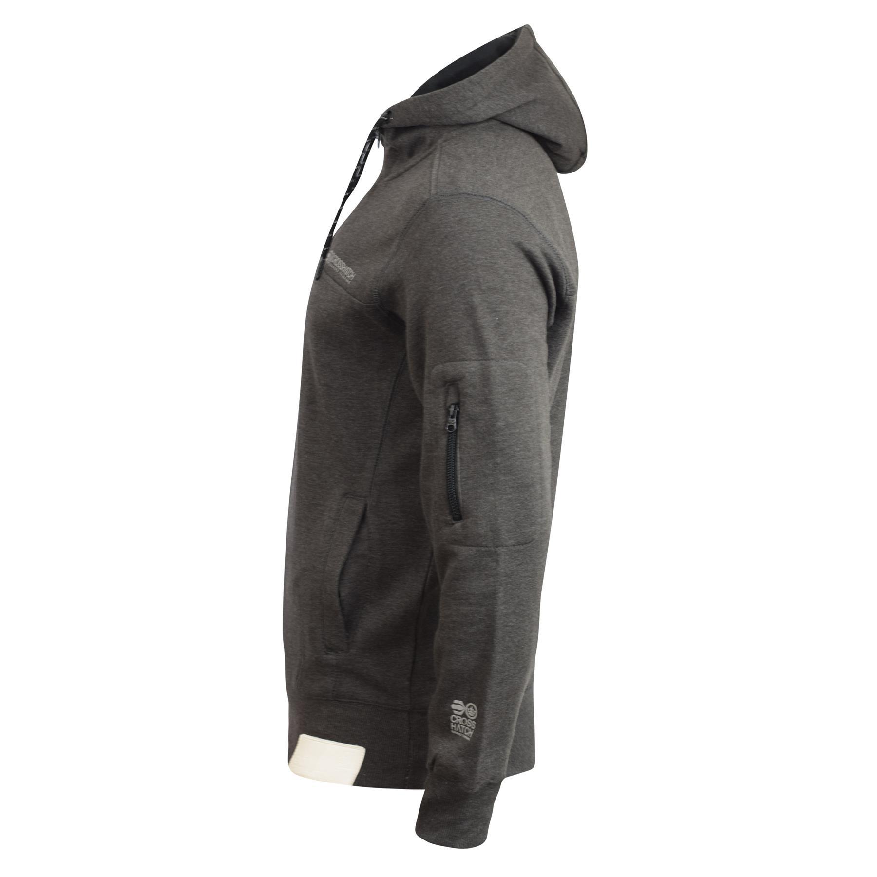 Mens-Hoodie-Crosshatch-Cravy-Sweatshirt-Hooded-Top thumbnail 3