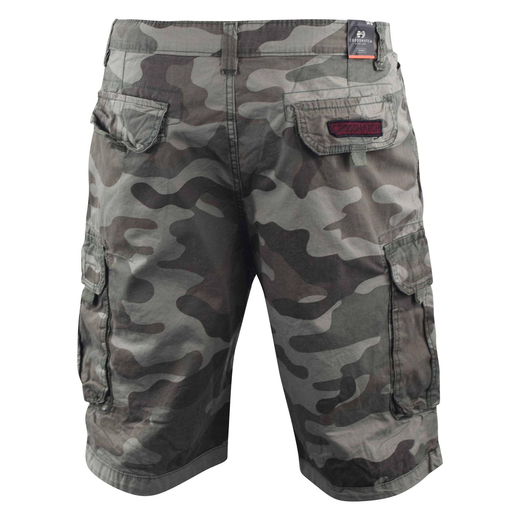 f25cd82841 Mens Crosshatch Chinos Camo Cargo Shorts Jeans Combat 3/4 Knee ...