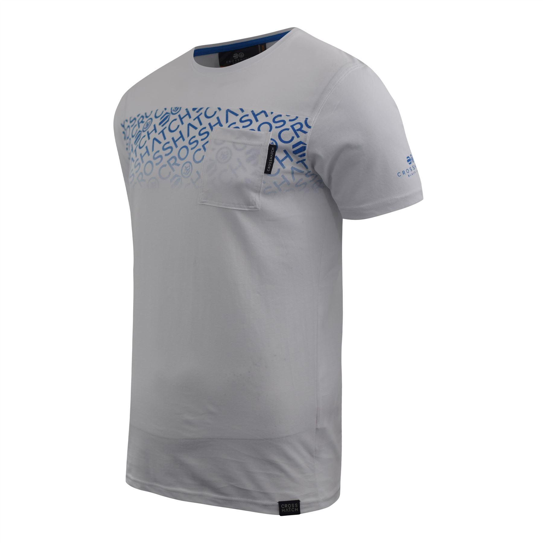 Mens-Crosshatch-T-shirt-Contrast-Graphic-Print-Top-Tee-Westfan thumbnail 9