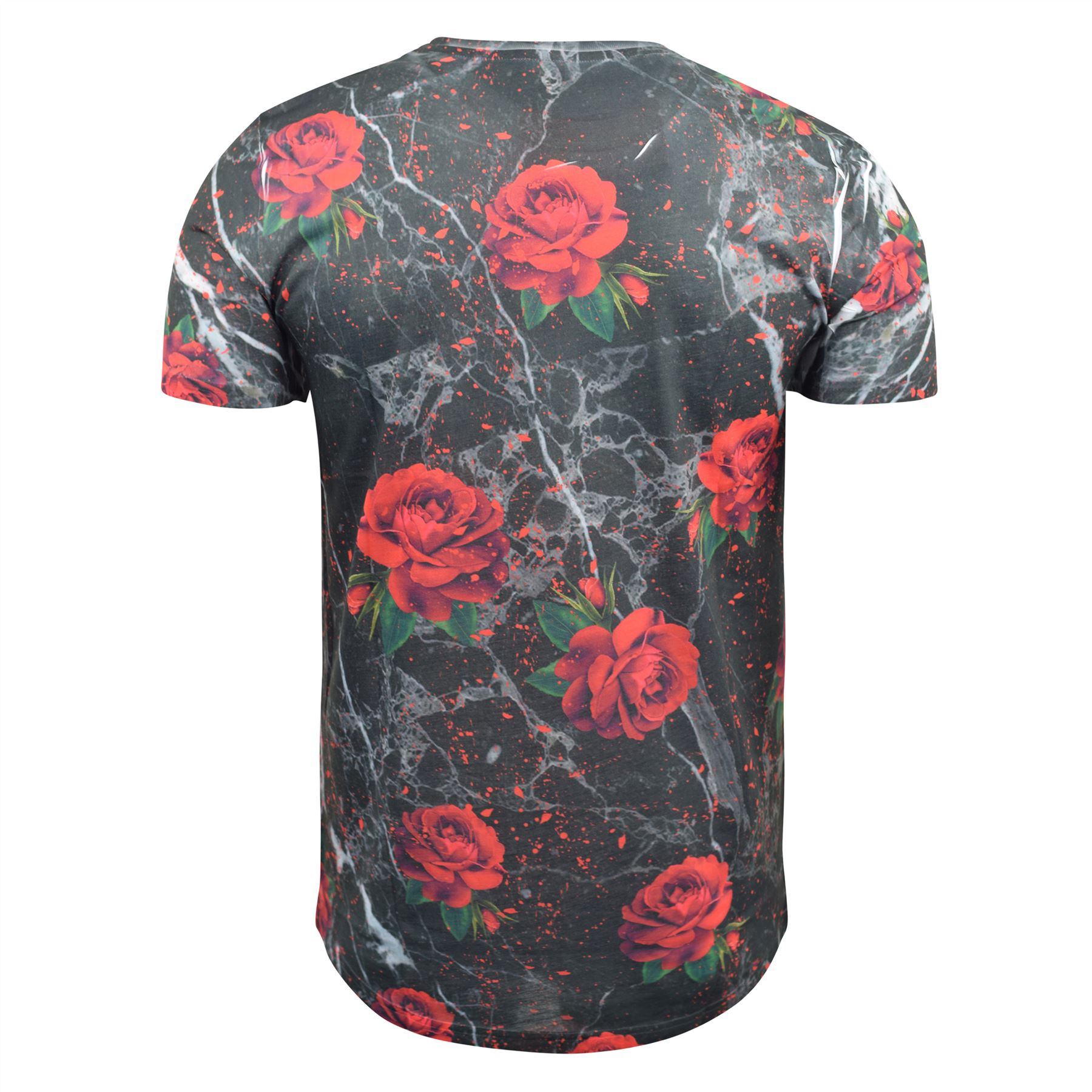 Mens-T-Shirt-Juice-Floral-Print-Flower-Crew-Neck-Tee-Top thumbnail 13