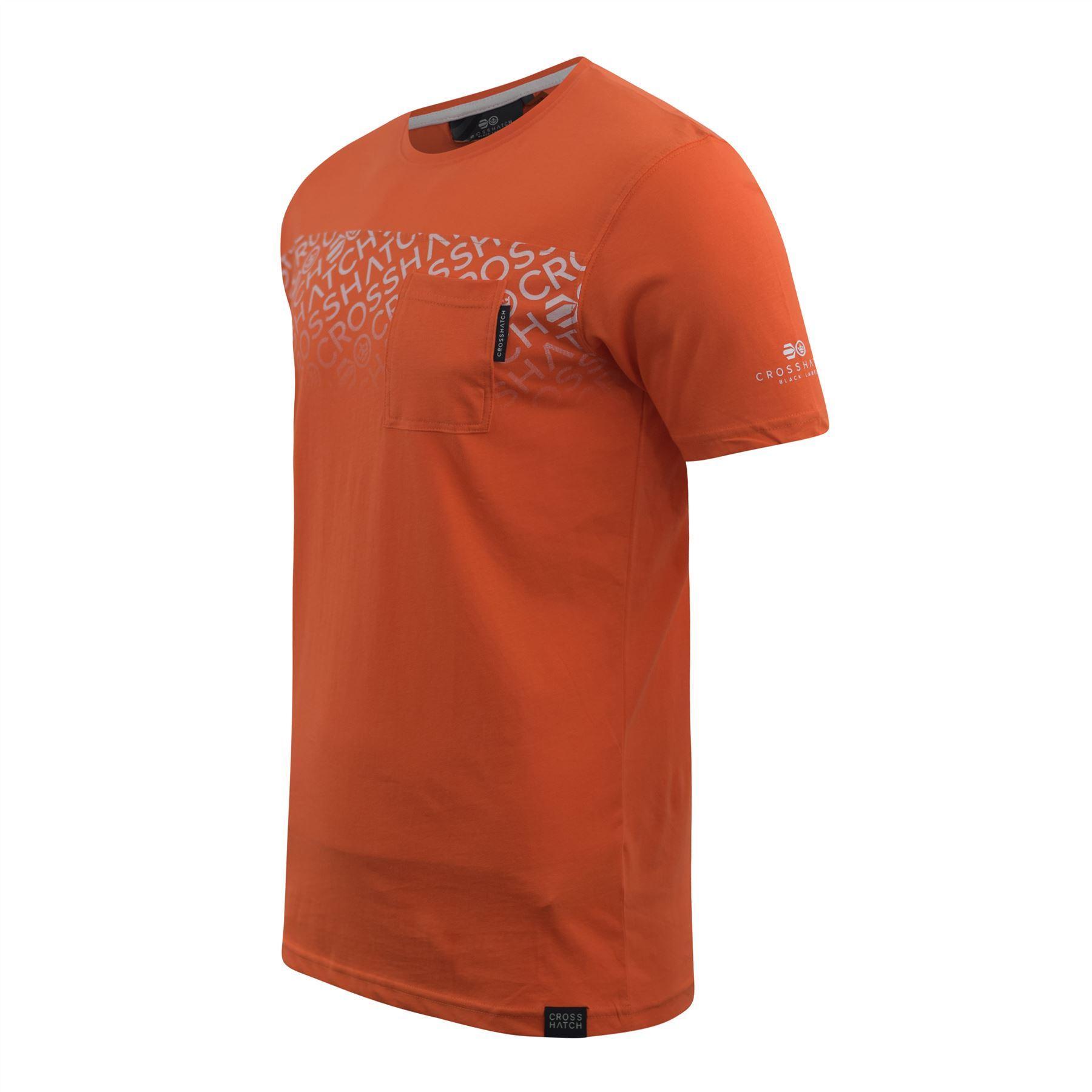 Mens-Crosshatch-T-shirt-Contrast-Graphic-Print-Top-Tee-Westfan thumbnail 6