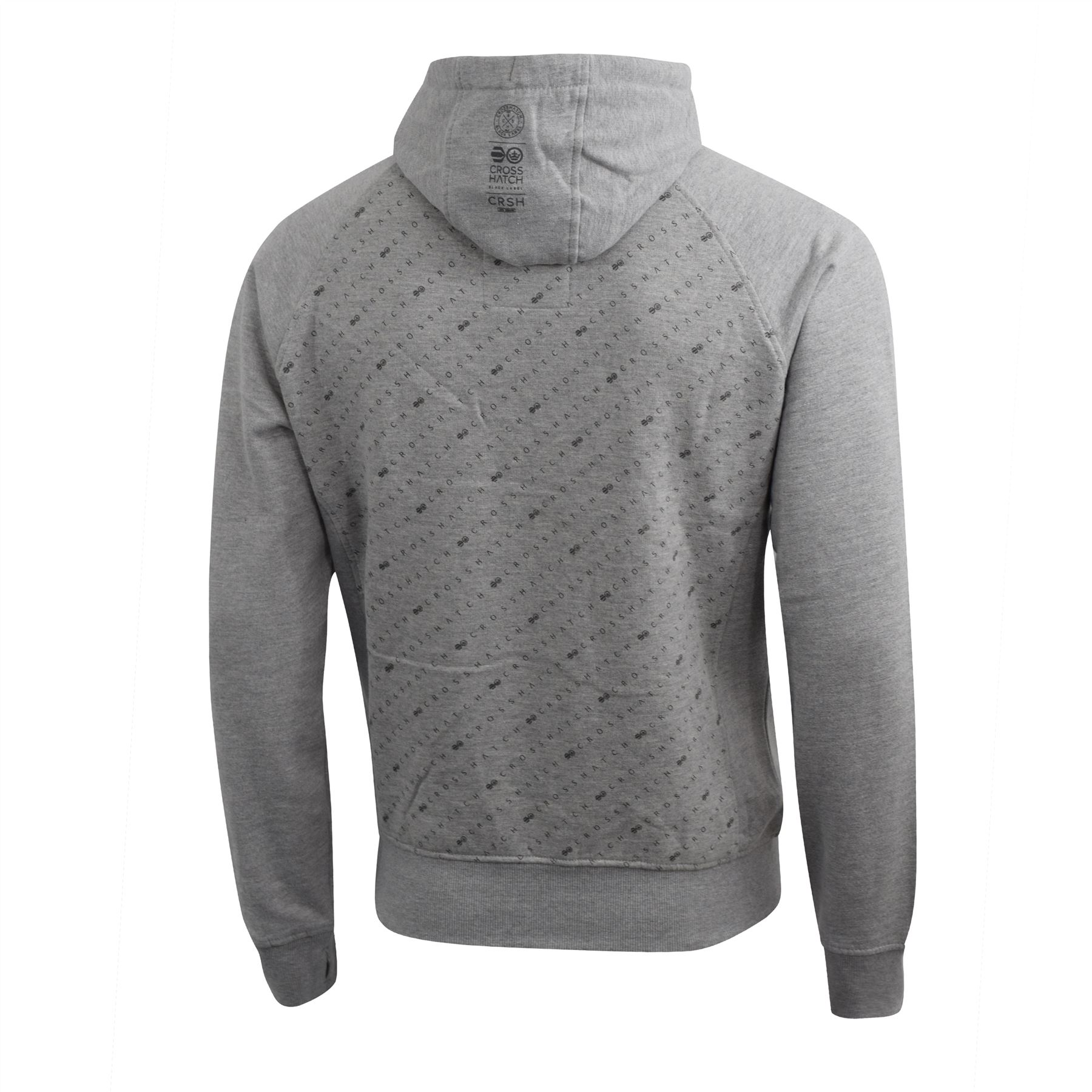 Mens-Hoodie-Crosshatch-Pullover-Degas-Hooded-Sweater-Jumper thumbnail 10