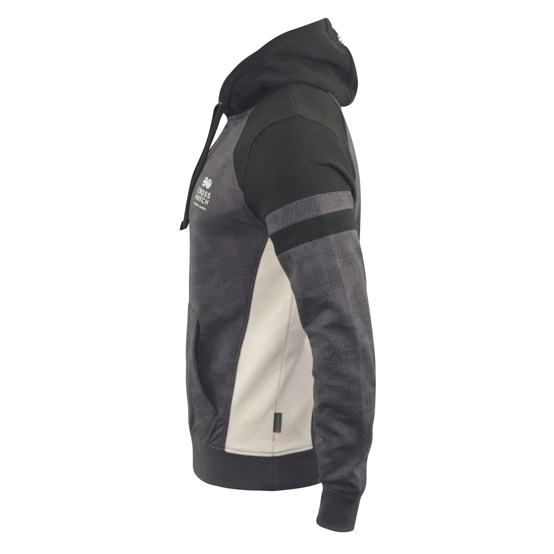Mens-Hoodie-Crosshatch-Sweatshirt-Hooded-Jumper-Top-Pullover-Kirknewton thumbnail 3