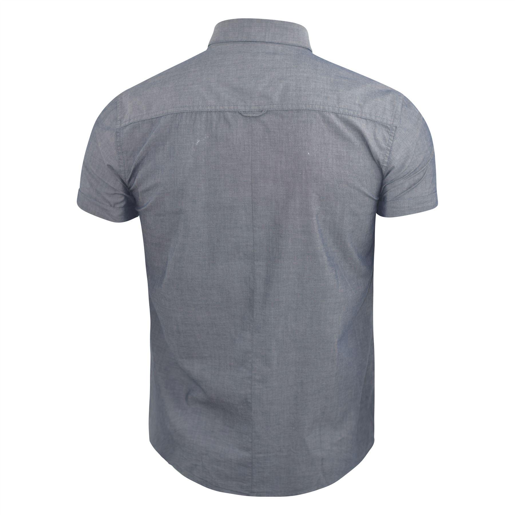 Mens-Plain-Shirt-Henthorn-Short-Sleeved-Cotton-Blend-Casual-Top thumbnail 5