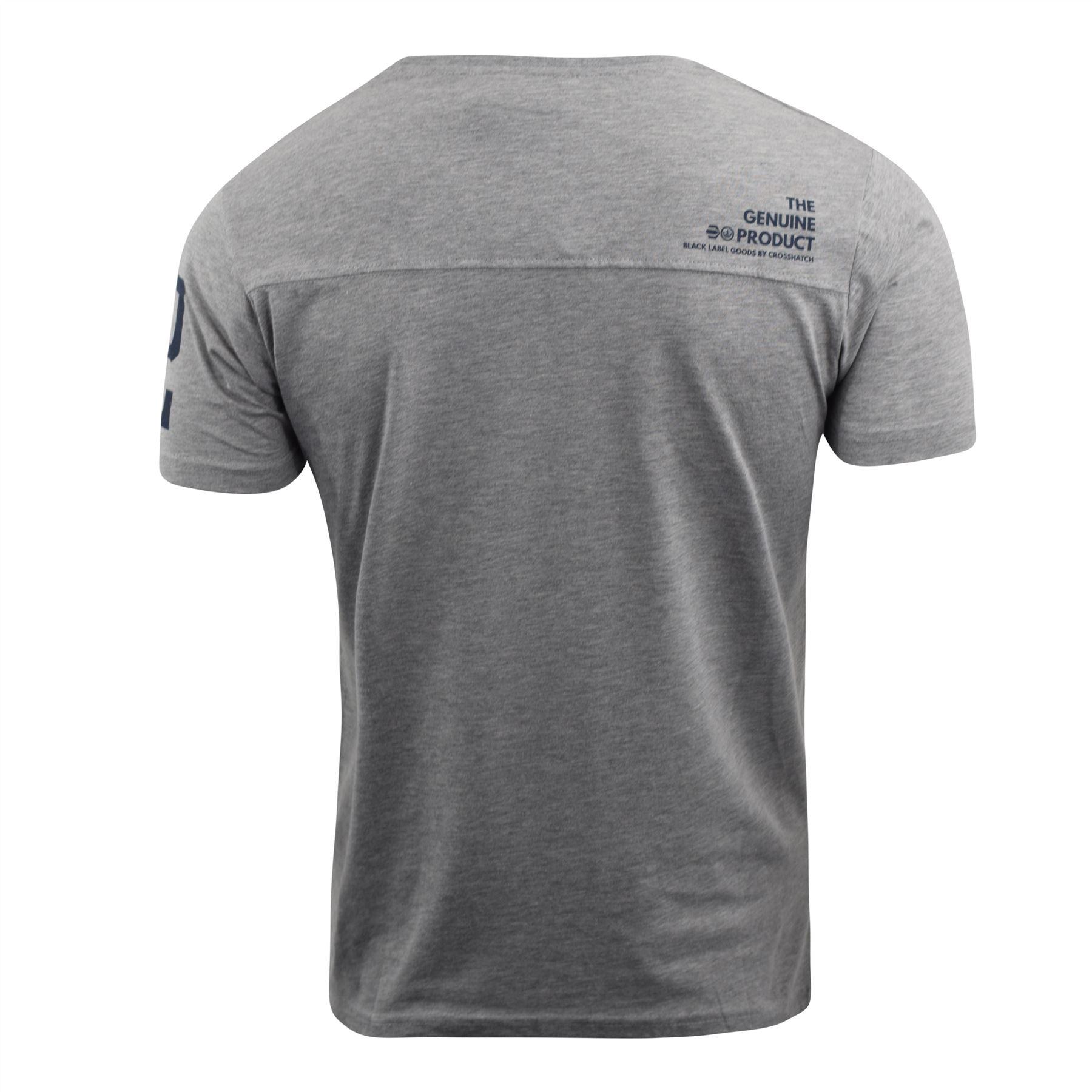 Mens-Crosshatch-T-Shirt-Contrast-Short-Sleeve-Tee-Top-Penycoat thumbnail 7