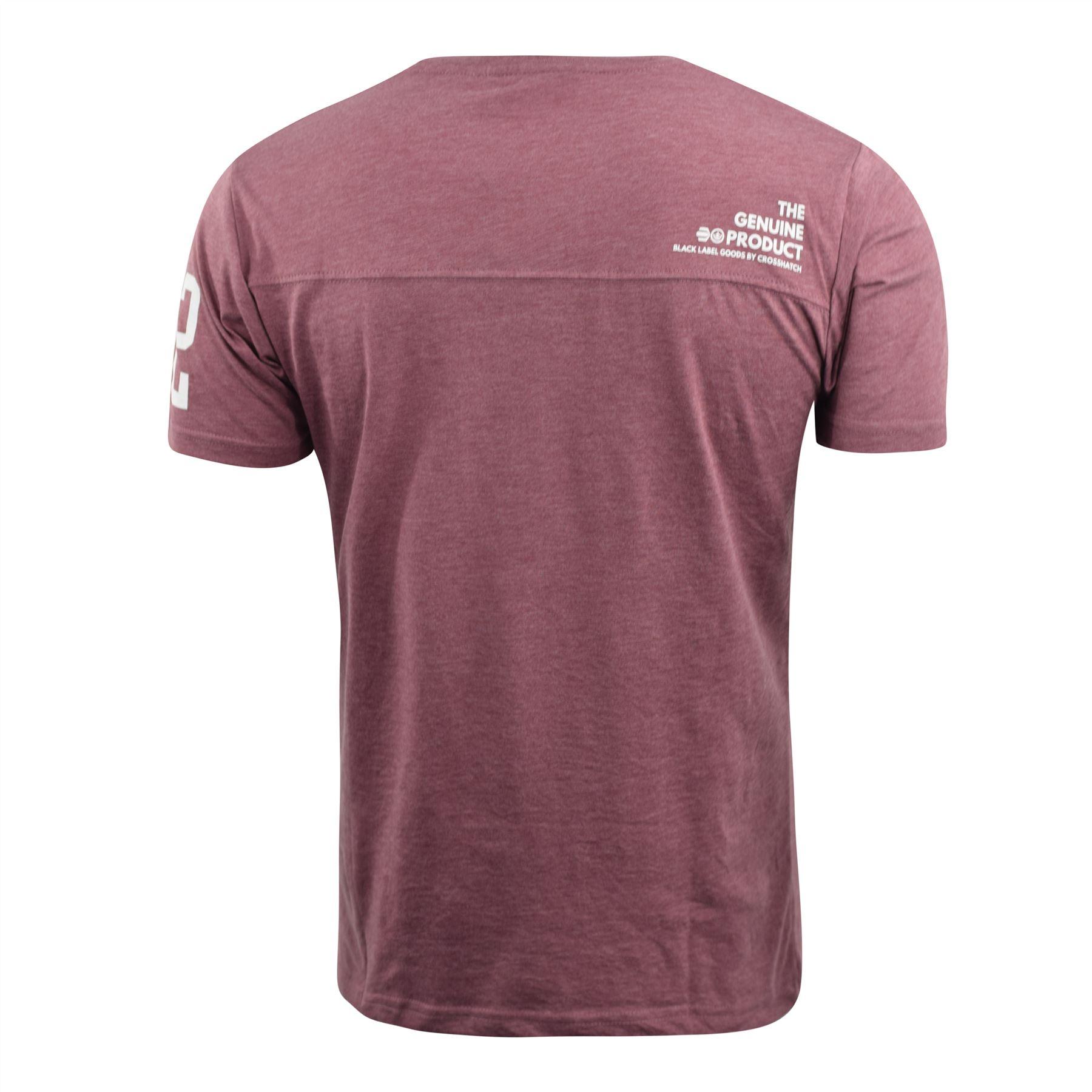 Mens-Crosshatch-T-Shirt-Contrast-Short-Sleeve-Tee-Top-Penycoat thumbnail 10