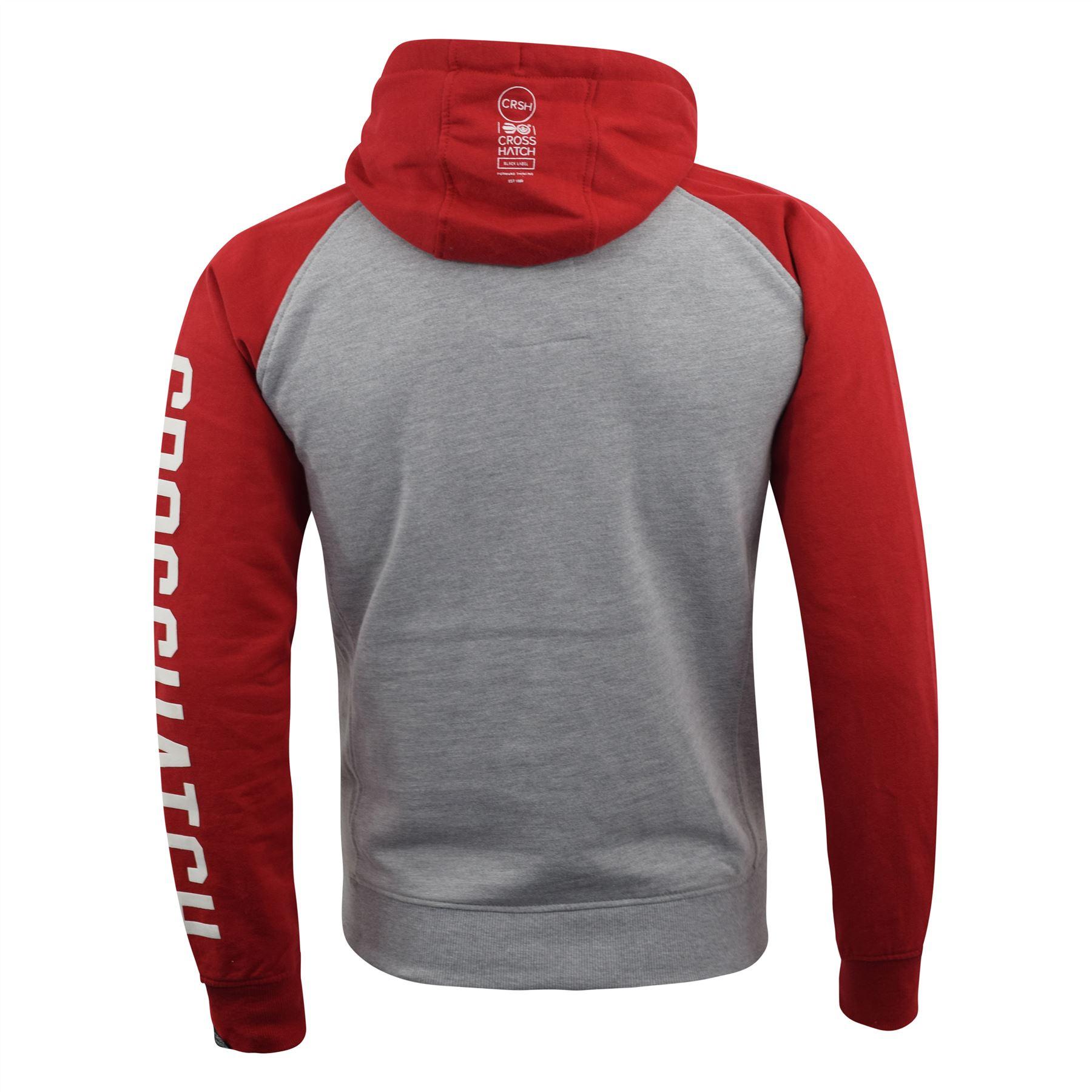 Mens-Hoodie-Crosshatch-Sweatshirt-Hooded-Jumper-Top-Pullover-TEMPTONS thumbnail 10