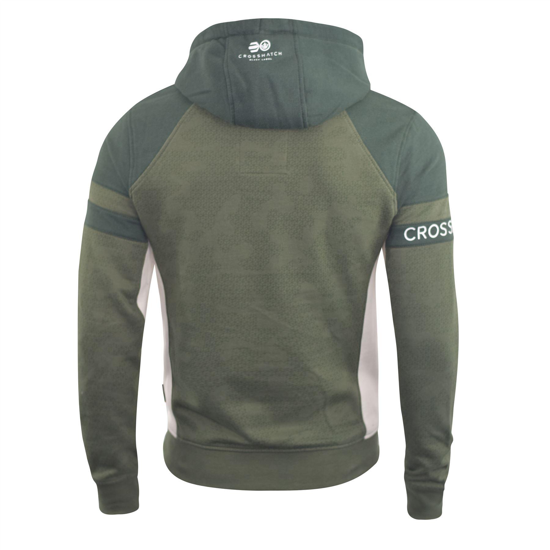 Mens-Hoodie-Crosshatch-Sweatshirt-Hooded-Jumper-Top-Pullover-Kirknewton thumbnail 7