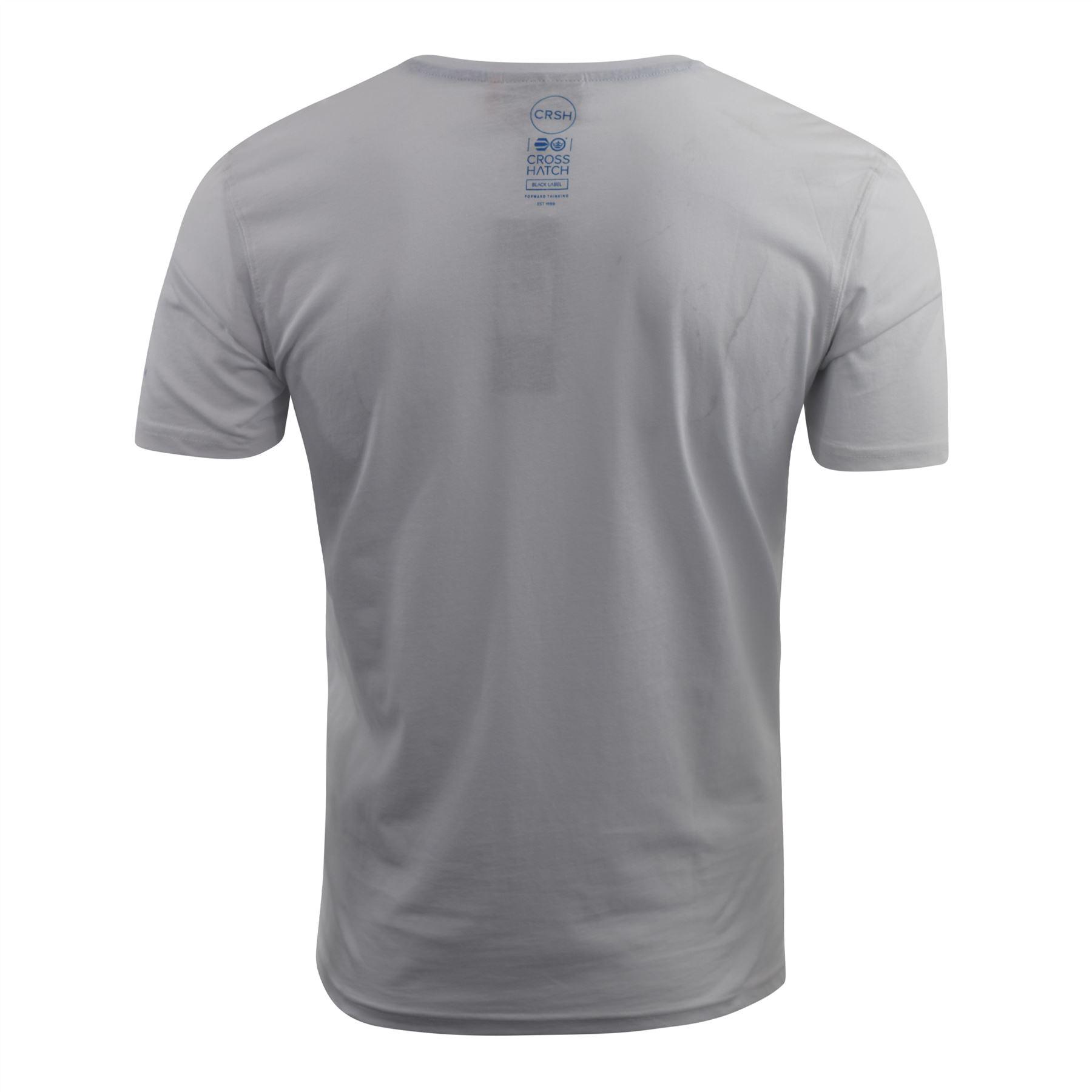 Mens-Crosshatch-T-shirt-Contrast-Graphic-Print-Top-Tee-Westfan thumbnail 10