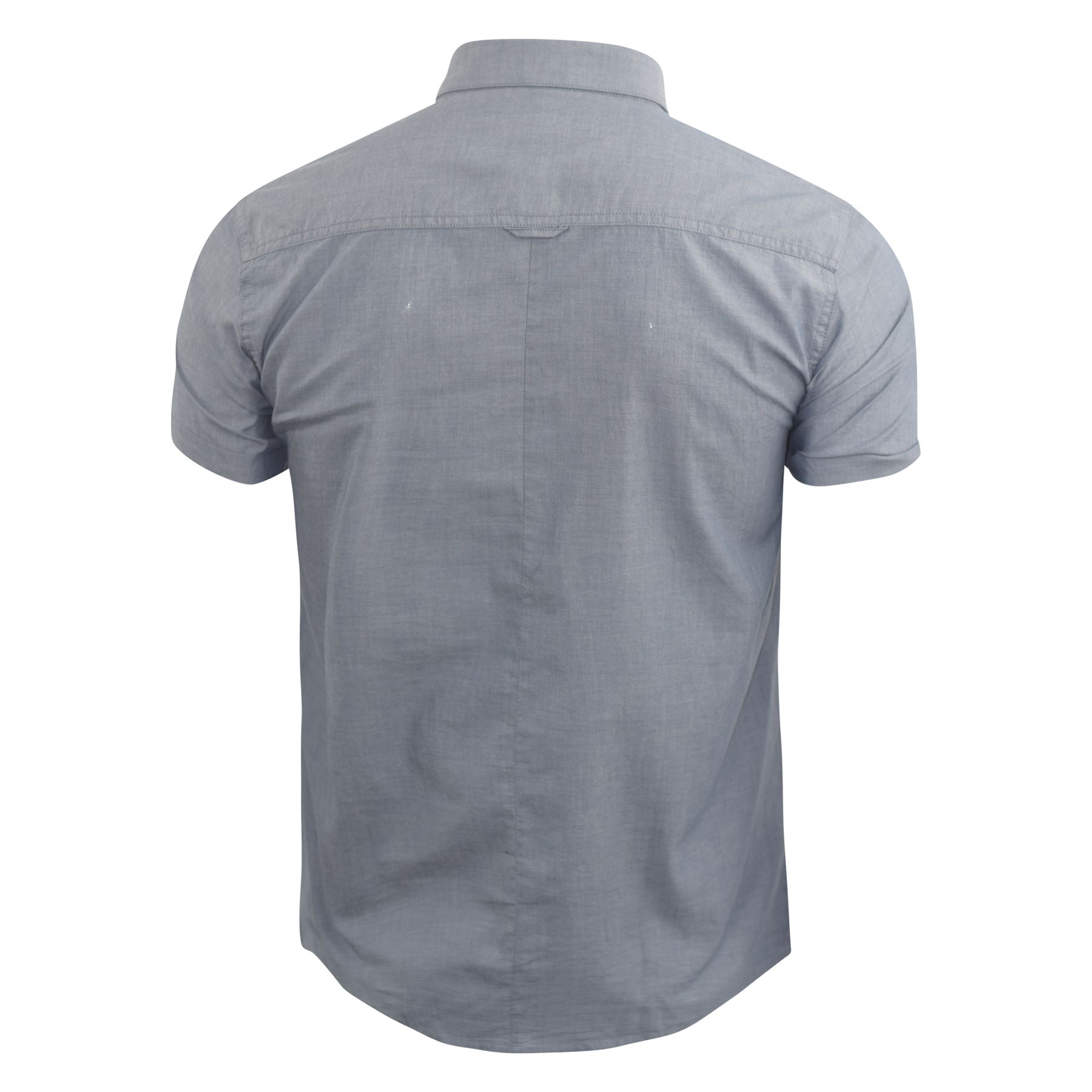 Mens-Plain-Shirt-Henthorn-Short-Sleeved-Cotton-Blend-Casual-Top thumbnail 7