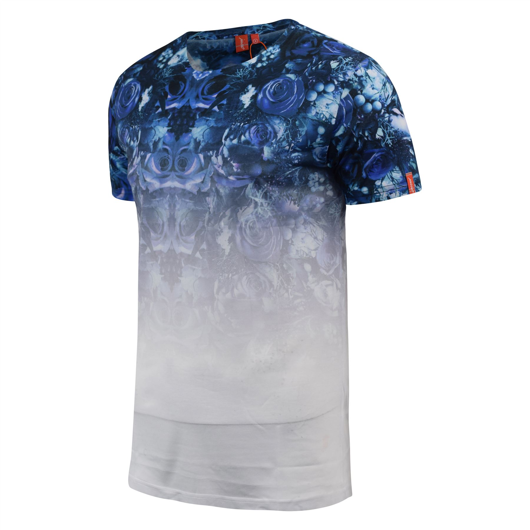 Mens-T-Shirt-Juice-Floral-Print-Flower-Crew-Neck-Tee-Top thumbnail 20