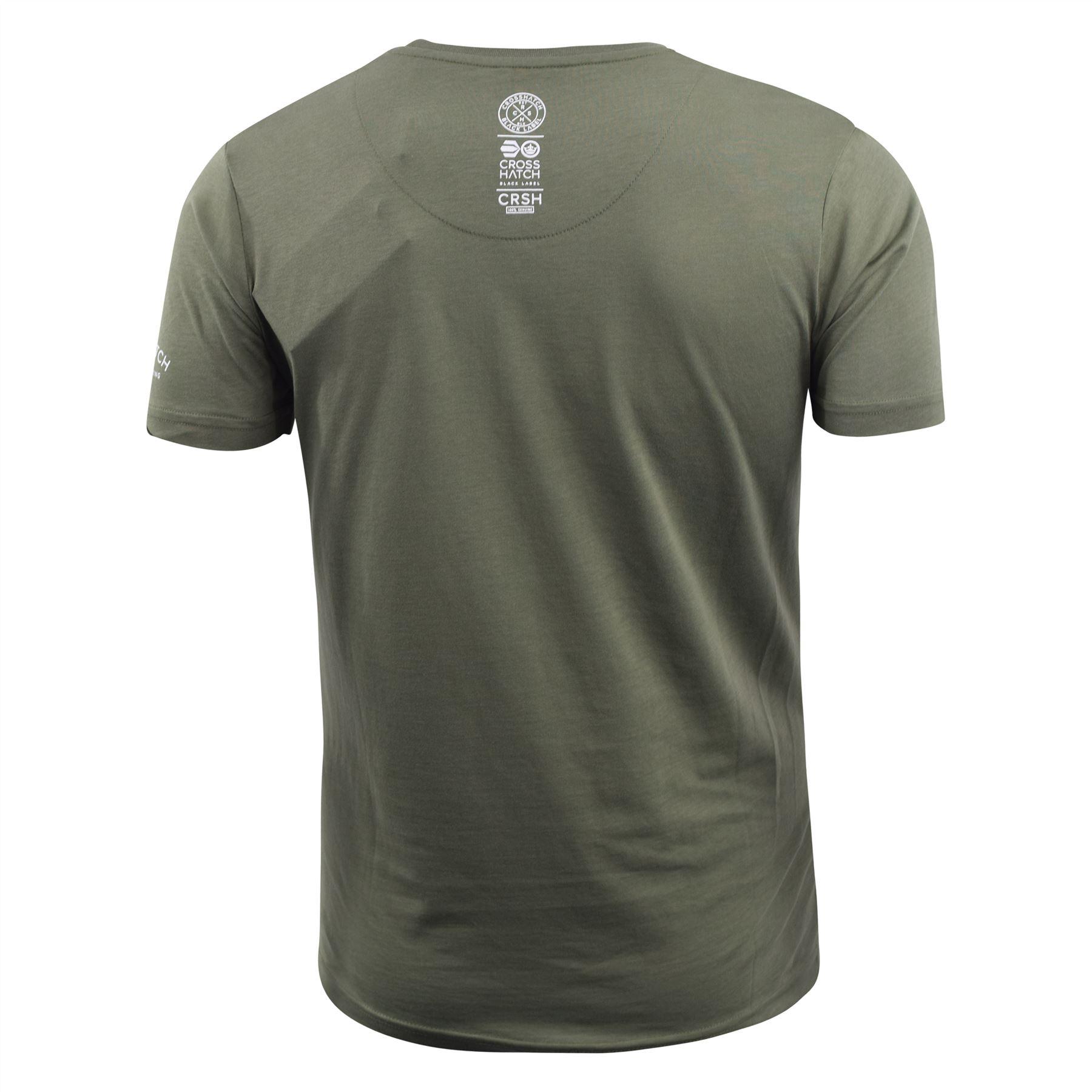 Mens-T-Shirt-Crosshatch-Short-Sleeve-Crew-Neck-Graphic-Tee-Top thumbnail 4