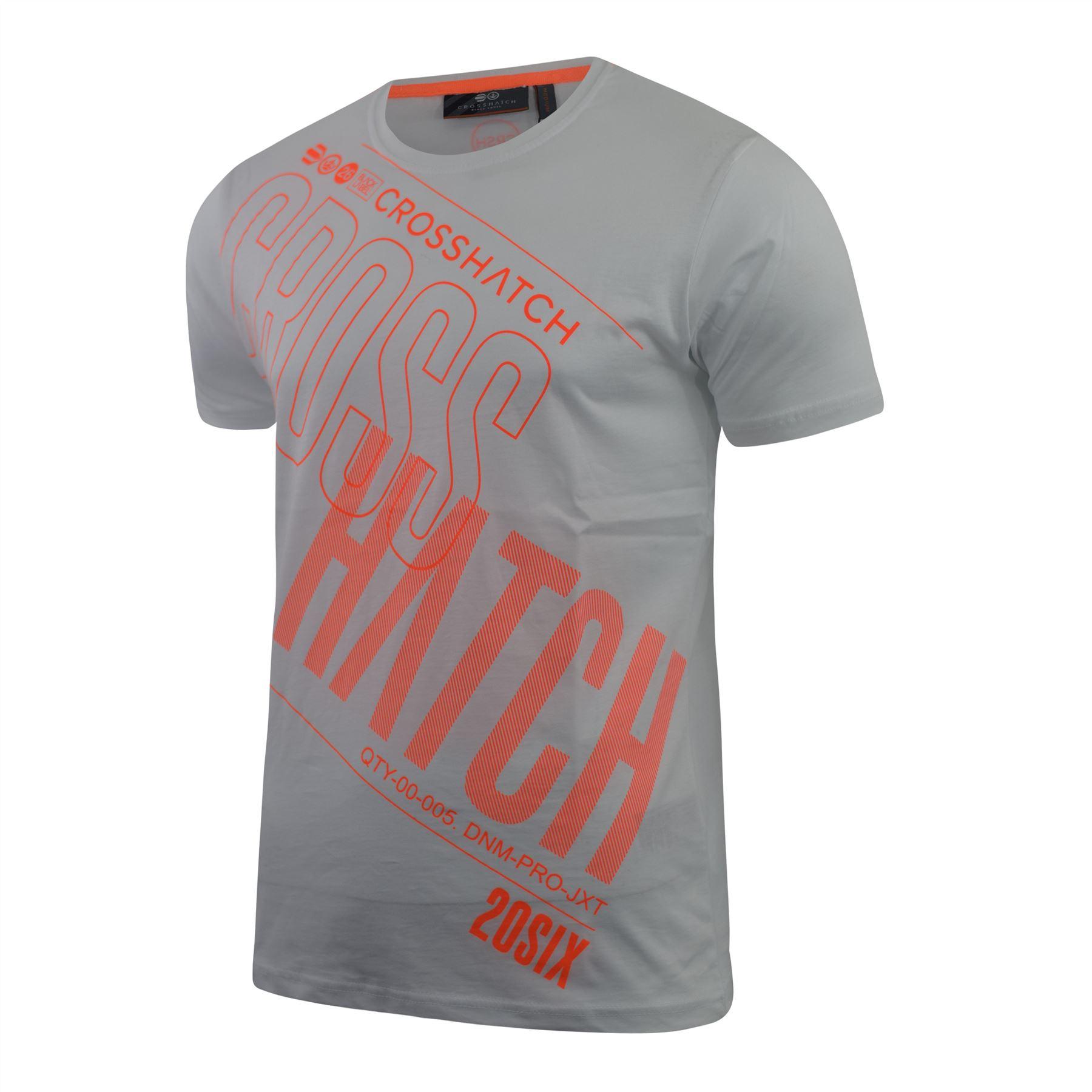 Mens-Crosshatch-T-Shirt-Graphic-Crew-Neck-Tee-Top-Kaeffmore thumbnail 9