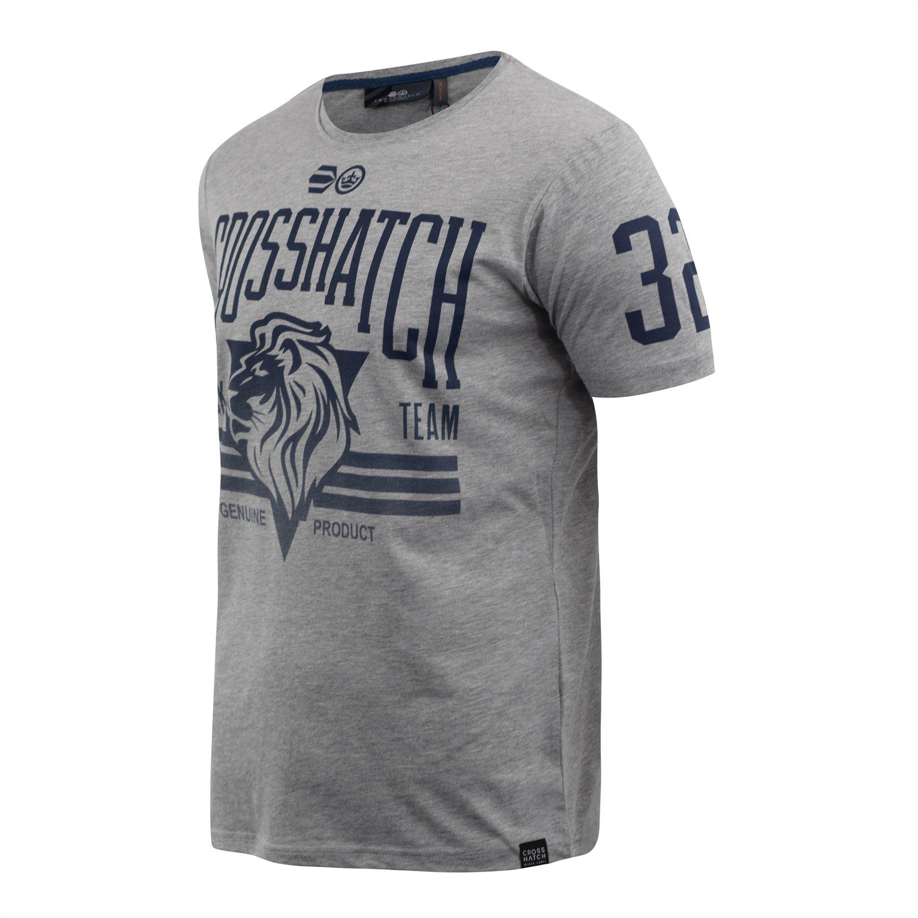 Mens-Crosshatch-T-Shirt-Contrast-Short-Sleeve-Tee-Top-Penycoat thumbnail 6