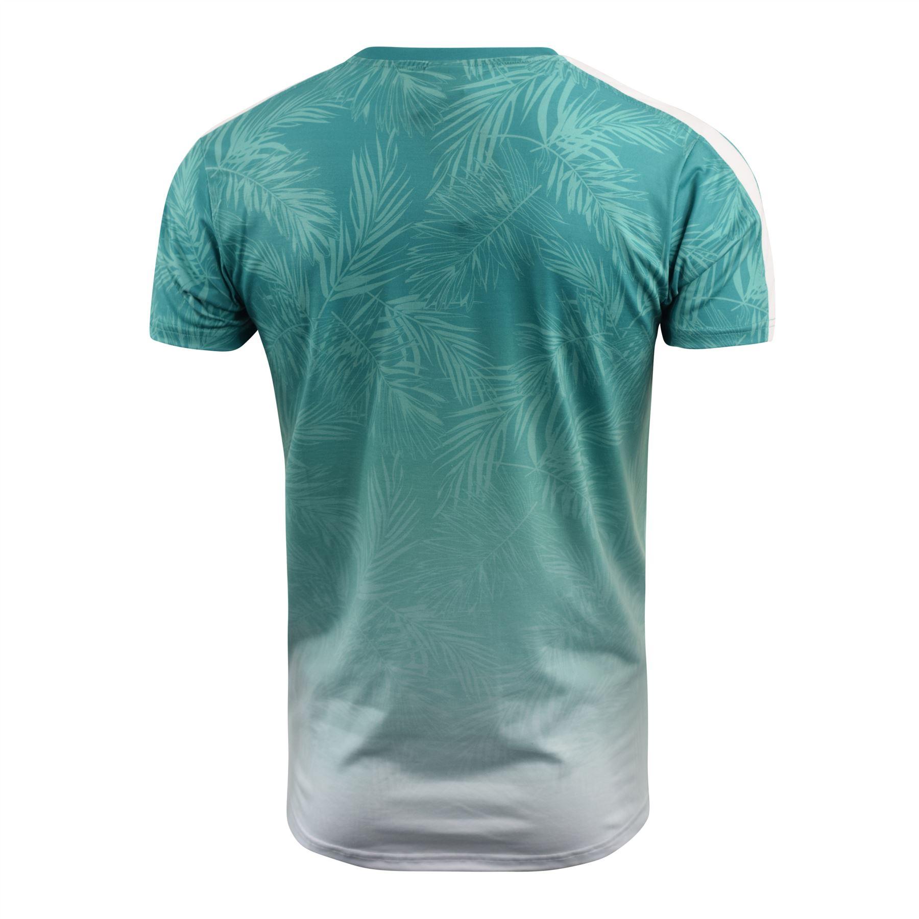 Mens-Crosshatch-T-Shirt-Contrast-Short-Sleeve-Tee-Top-Salifornia thumbnail 4