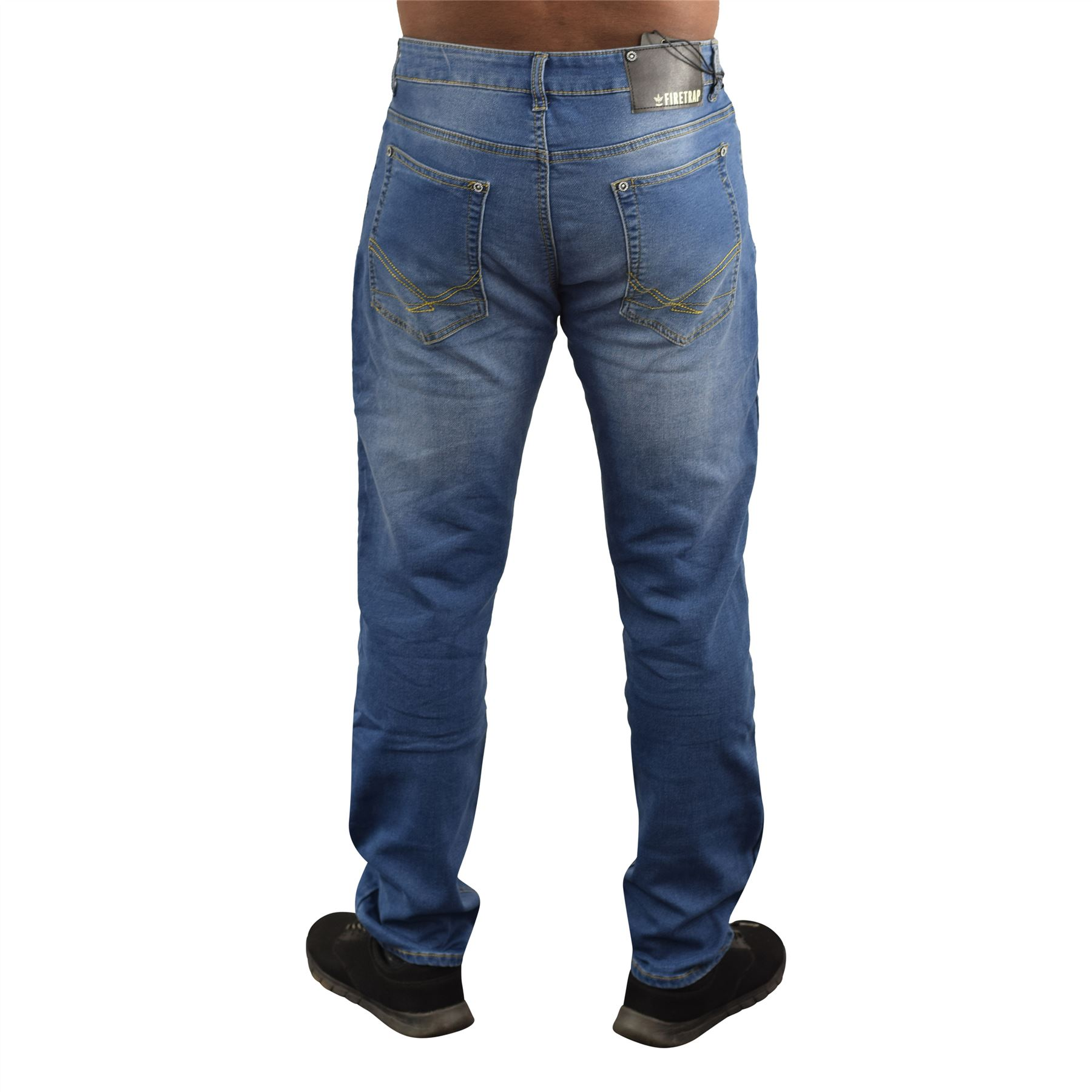 Mens-Jeans-Firetrap-Stretch-Durable-Straight-Leg-Regular-Fit-Relaxed-Denim-Jeans thumbnail 3